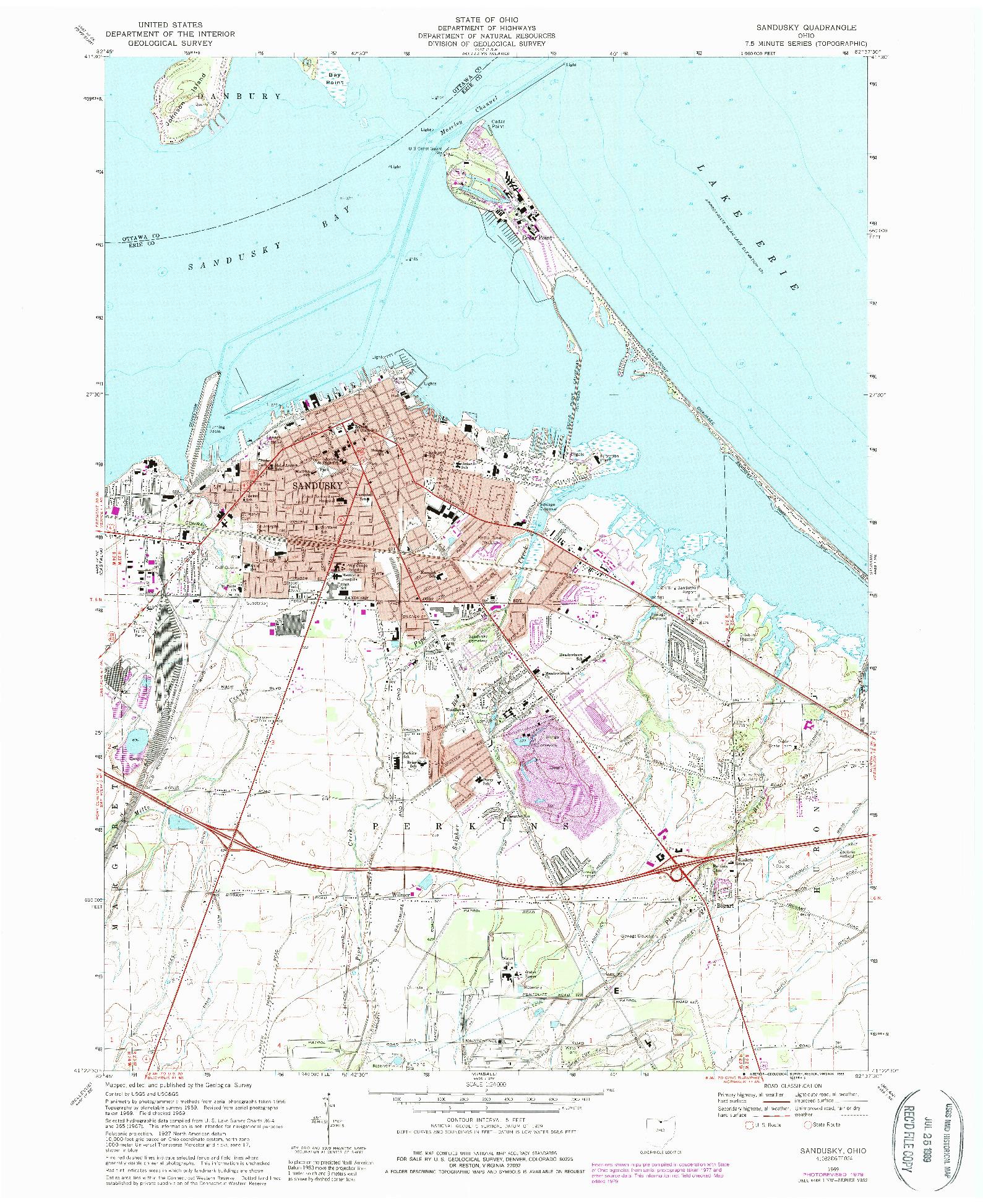 USGS 1:24000-SCALE QUADRANGLE FOR SANDUSKY, OH 1969