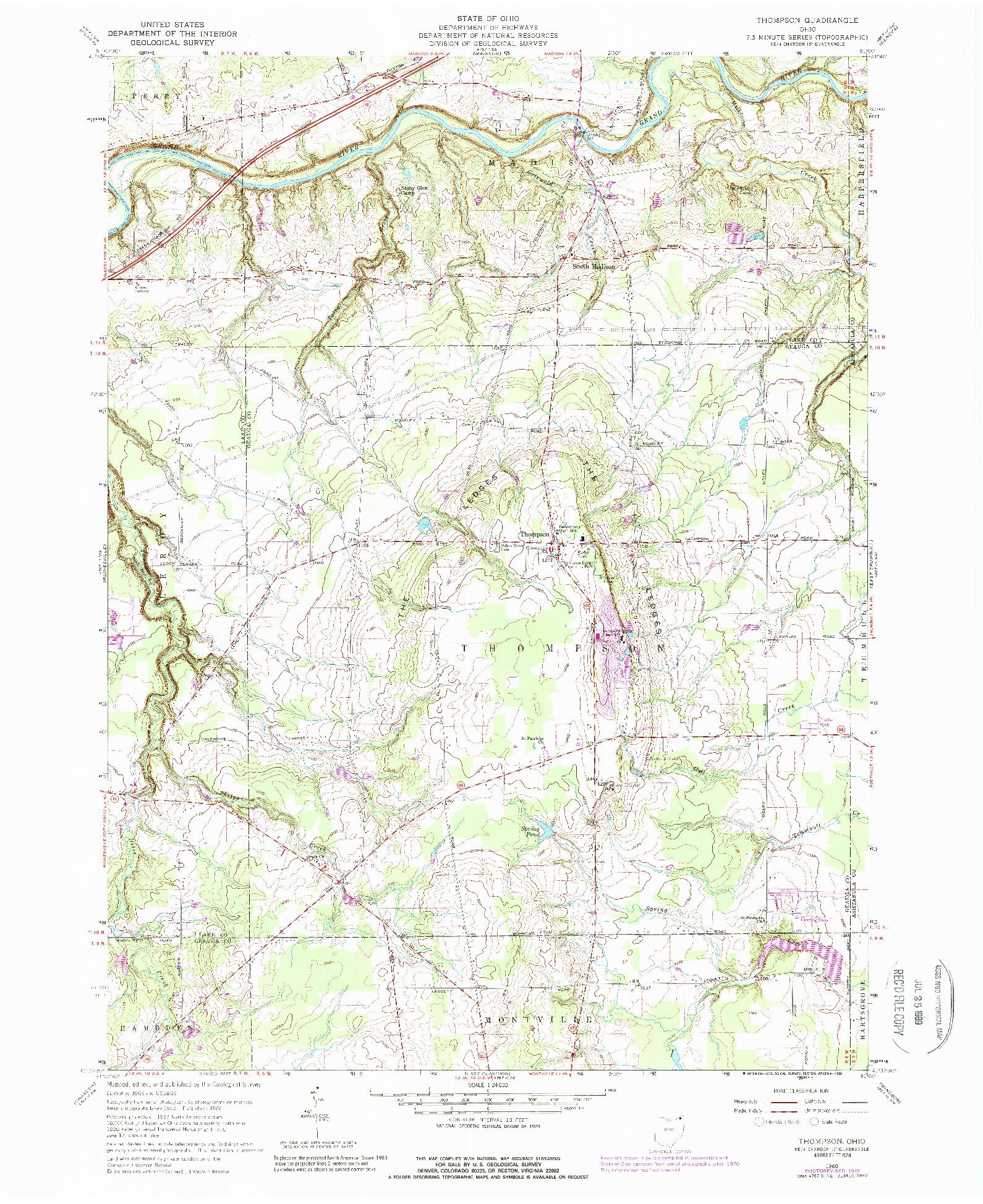 USGS 1:24000-SCALE QUADRANGLE FOR THOMPSON, OH 1960
