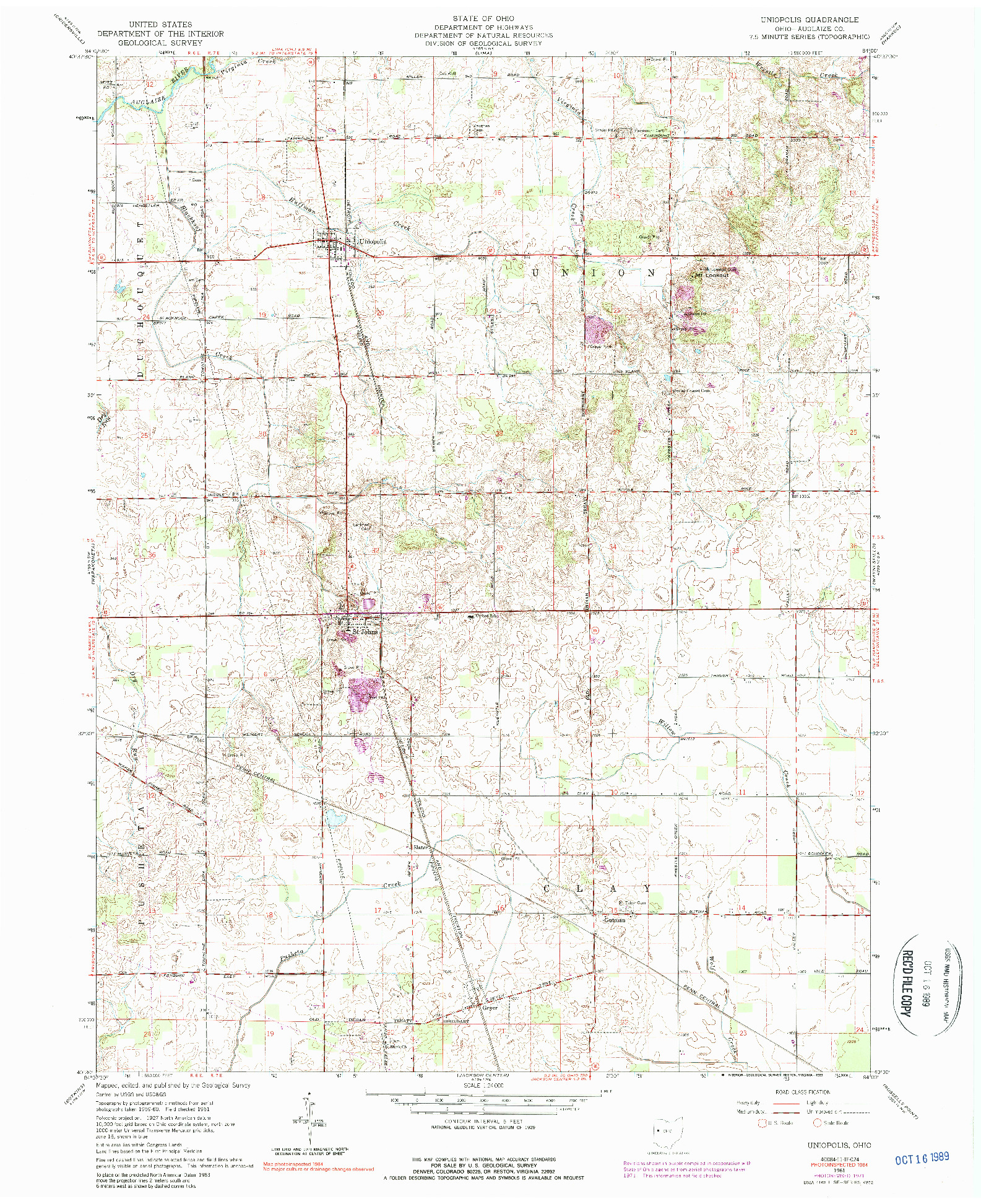 USGS 1:24000-SCALE QUADRANGLE FOR UNIOPOLIS, OH 1961