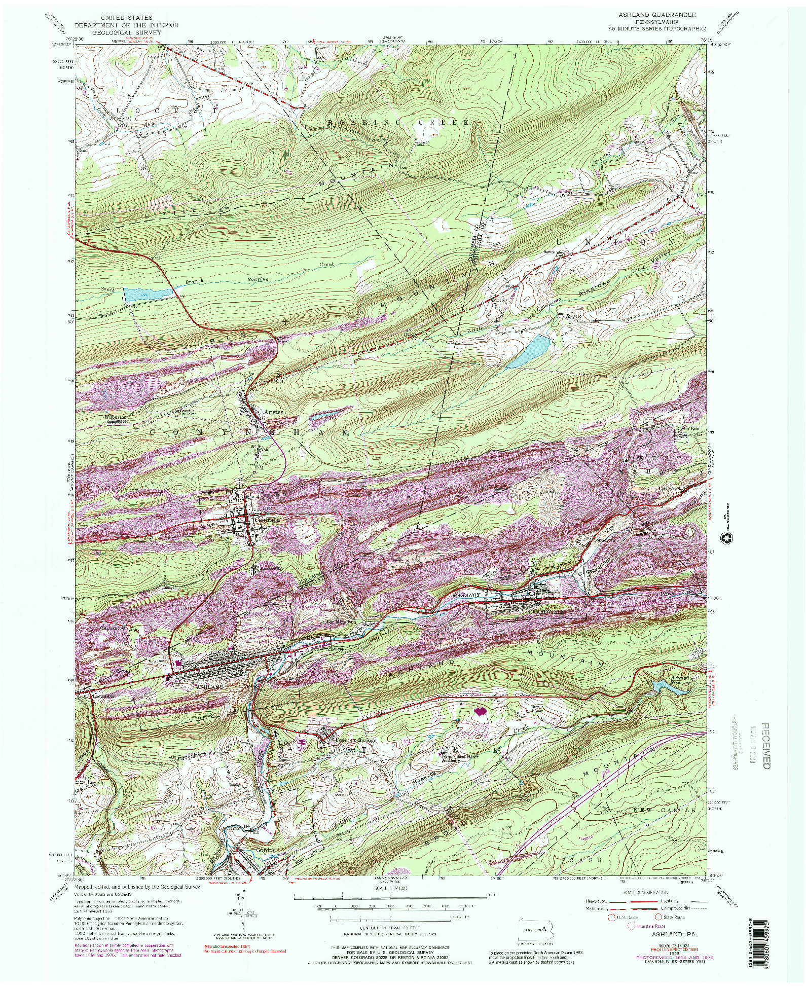 USGS 1:24000-SCALE QUADRANGLE FOR ASHLAND, PA 1953