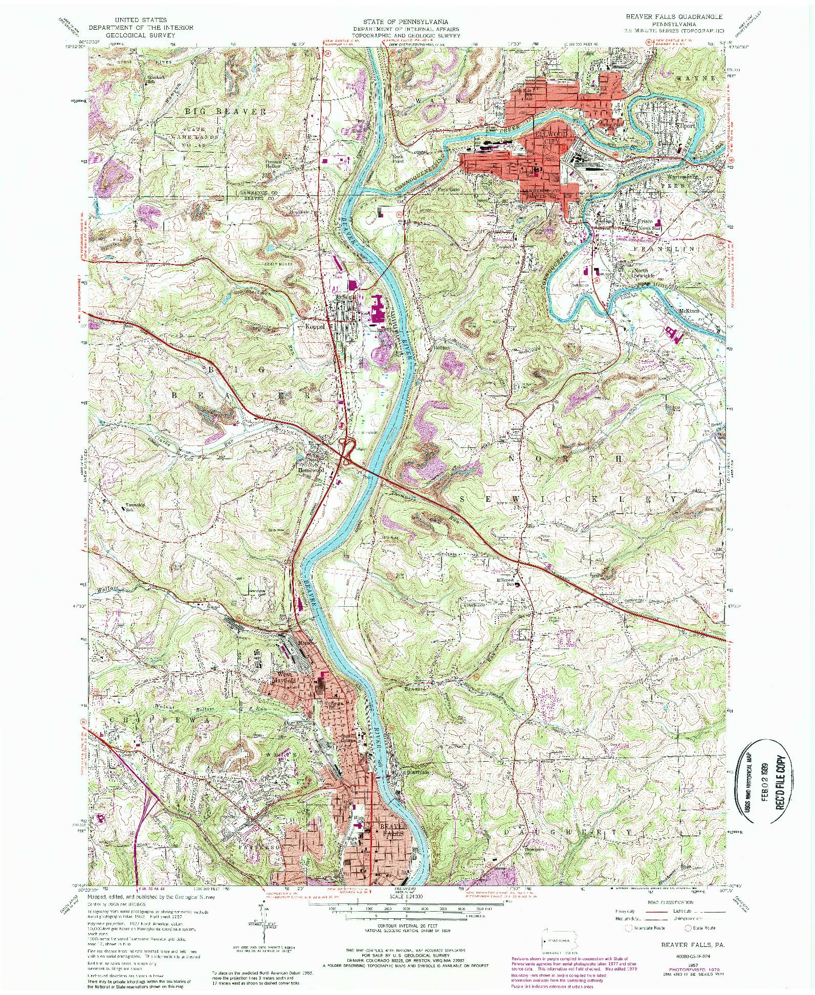 USGS 1:24000-SCALE QUADRANGLE FOR BEAVER FALLS, PA 1957