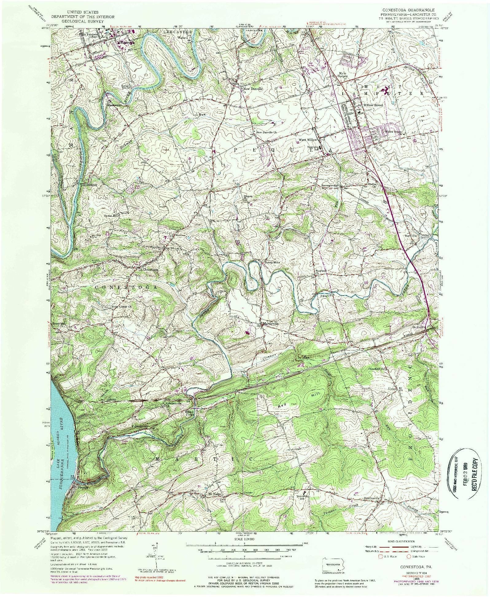 USGS 1:24000-SCALE QUADRANGLE FOR CONESTOGA, PA 1955