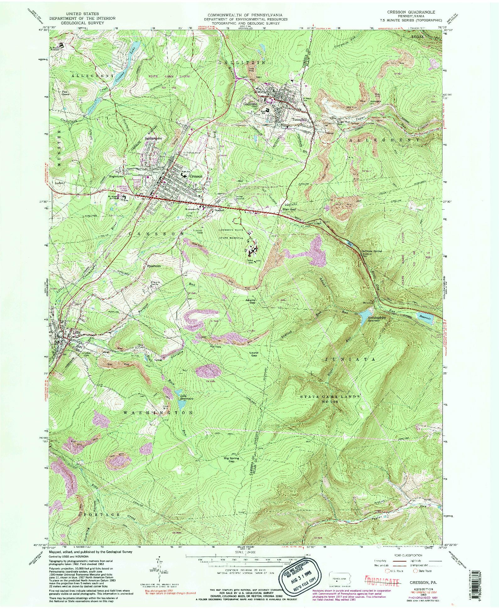 USGS 1:24000-SCALE QUADRANGLE FOR CRESSON, PA 1963