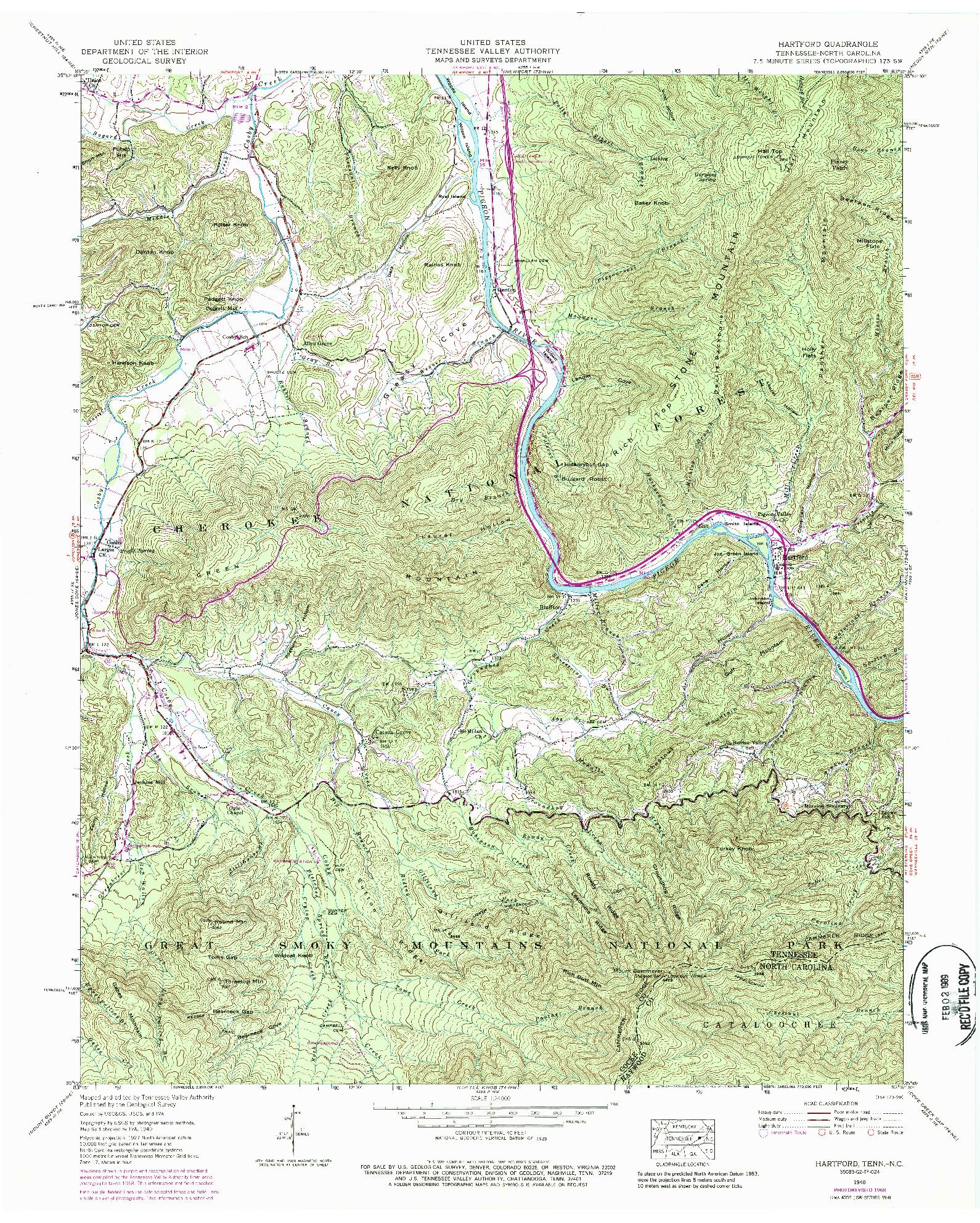 USGS 1:24000-SCALE QUADRANGLE FOR HARTFORD, TN 1940