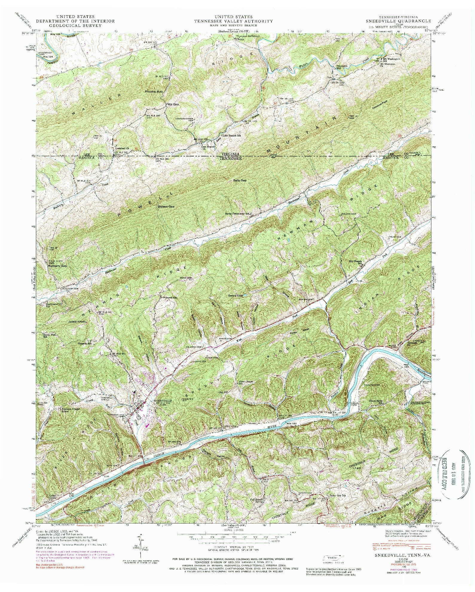 USGS 1:24000-SCALE QUADRANGLE FOR SNEEDVILLE, TN 1946