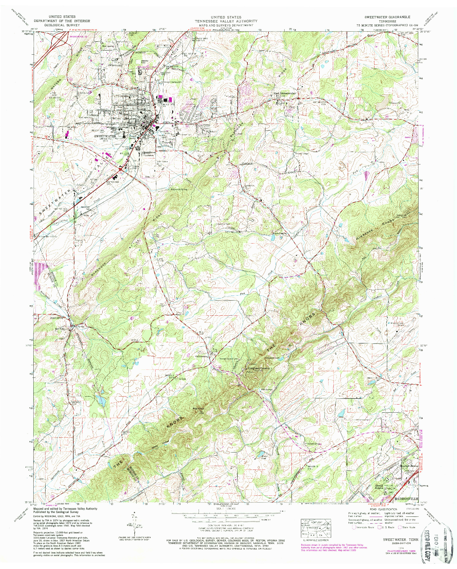 USGS 1:24000-SCALE QUADRANGLE FOR SWEETWATER, TN 1974
