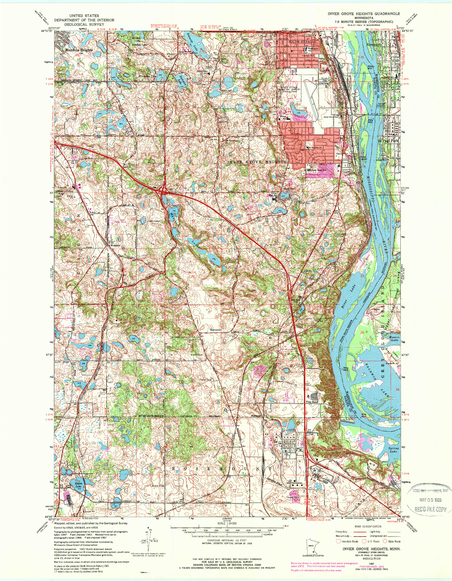 USGS 1:24000-SCALE QUADRANGLE FOR INVER GROVE HEIGHTS, MN 1967