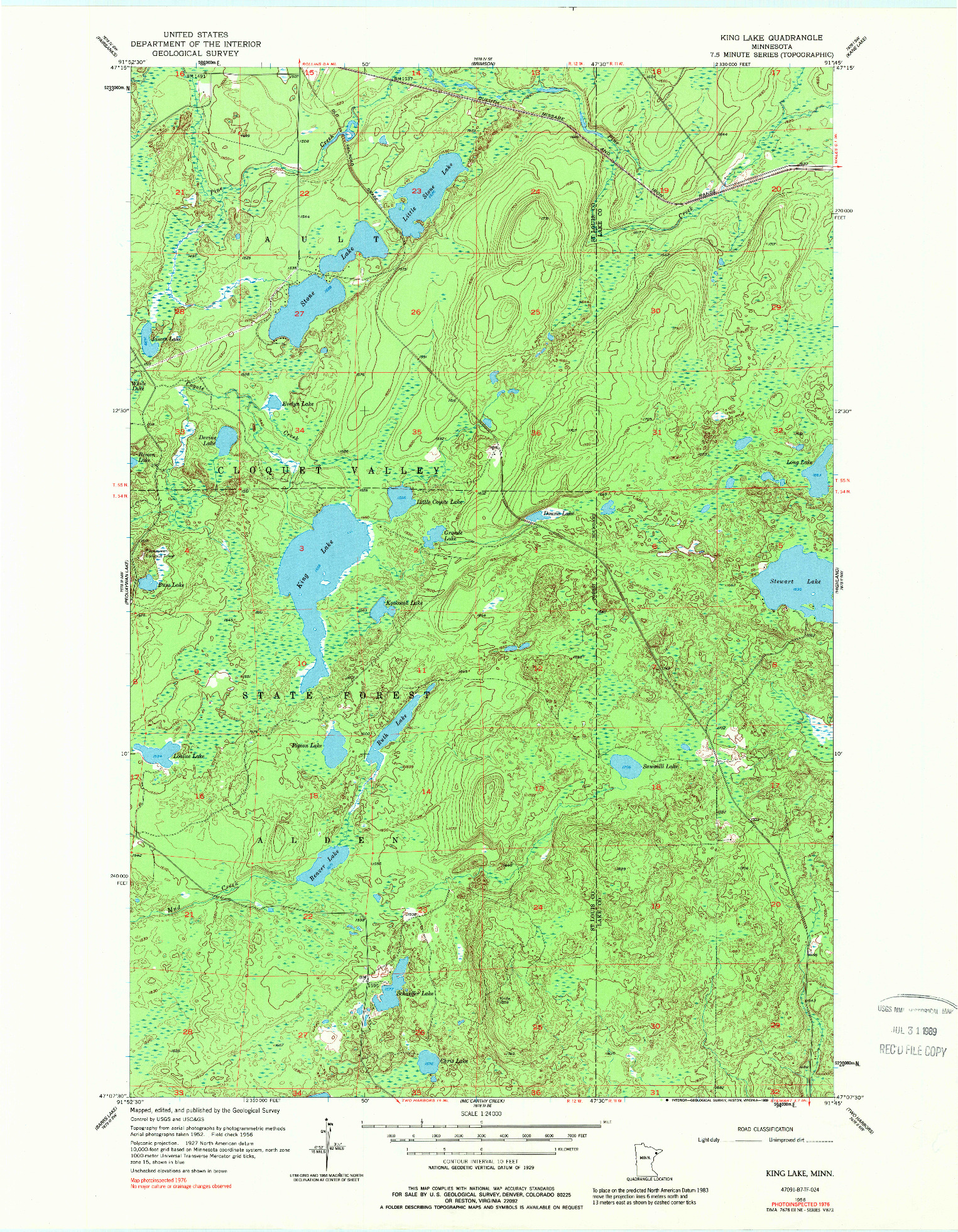 USGS 1:24000-SCALE QUADRANGLE FOR KING LAKE, MN 1956