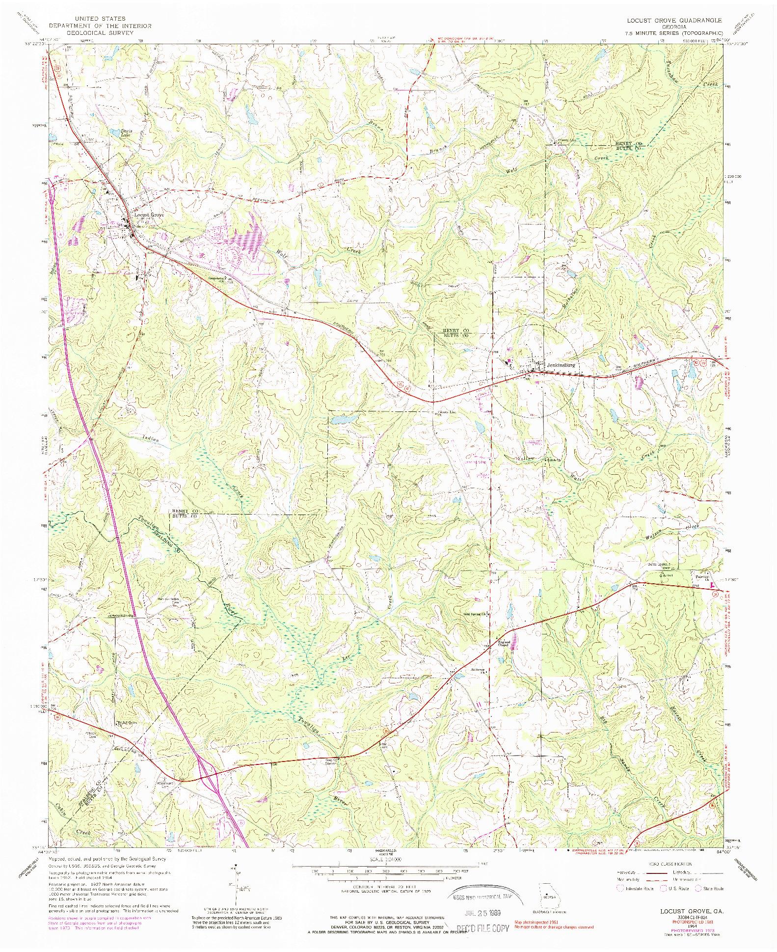 USGS 1:24000-SCALE QUADRANGLE FOR LOCUST GROVE, GA 1964