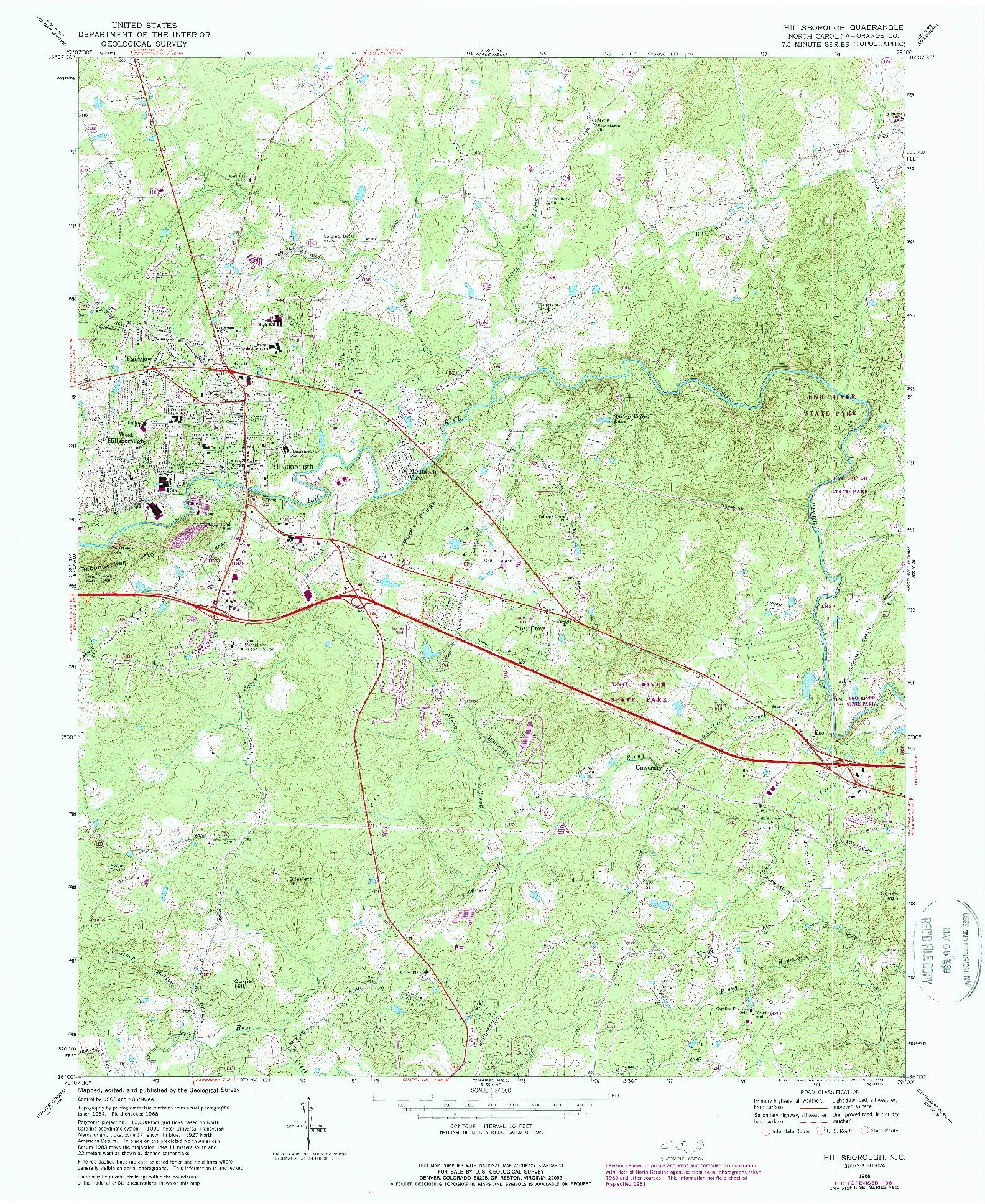 USGS 1:24000-SCALE QUADRANGLE FOR HILLSBOROUGH, NC 1968