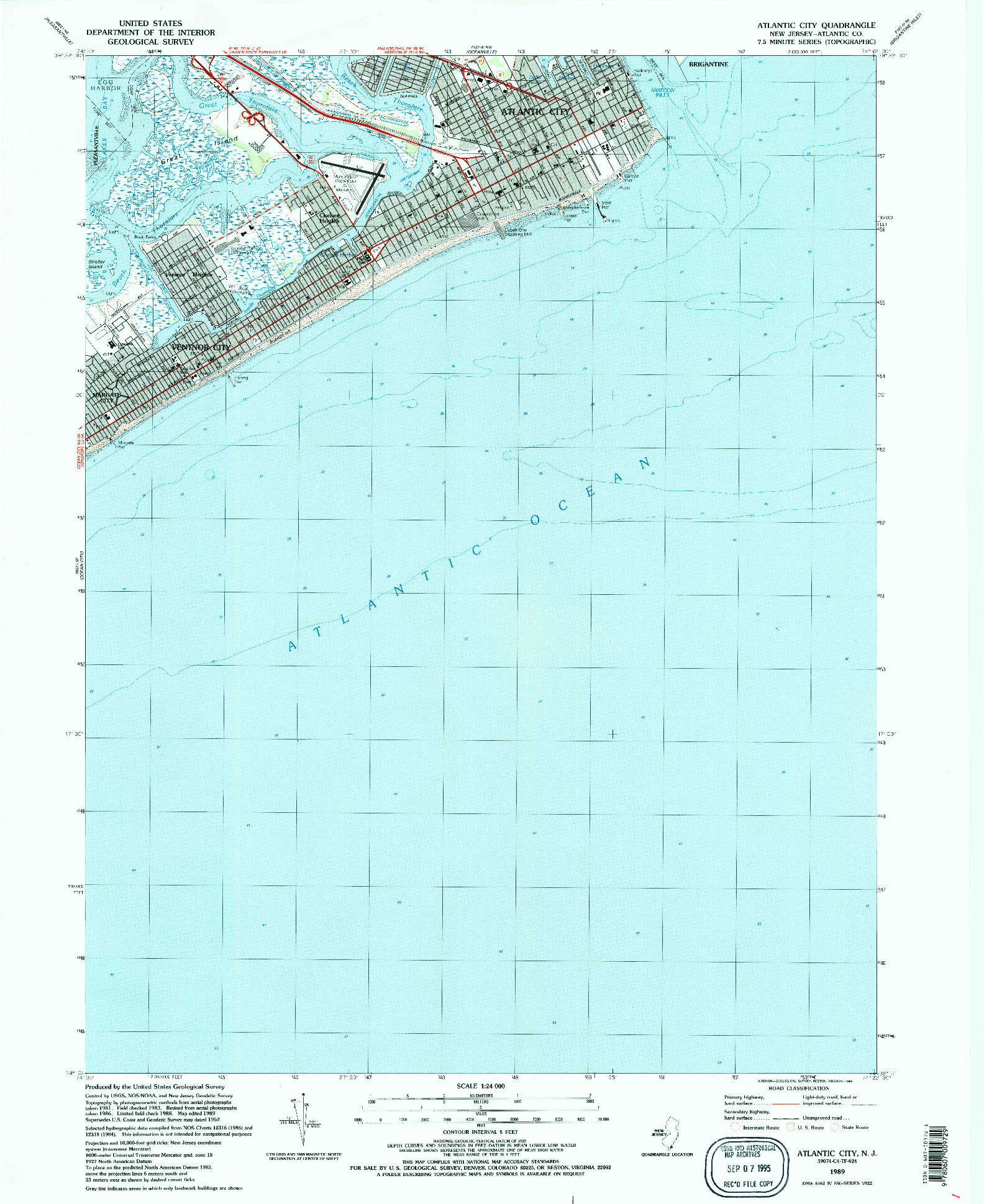 USGS 1:24000-SCALE QUADRANGLE FOR ATLANTIC CITY, NJ 1989