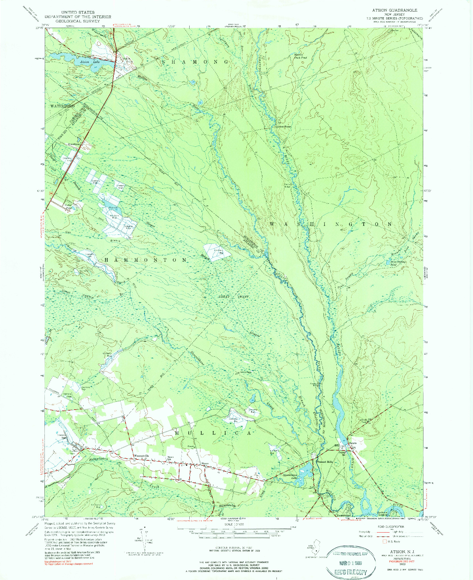 USGS 1:24000-SCALE QUADRANGLE FOR ATSION, NJ 1953