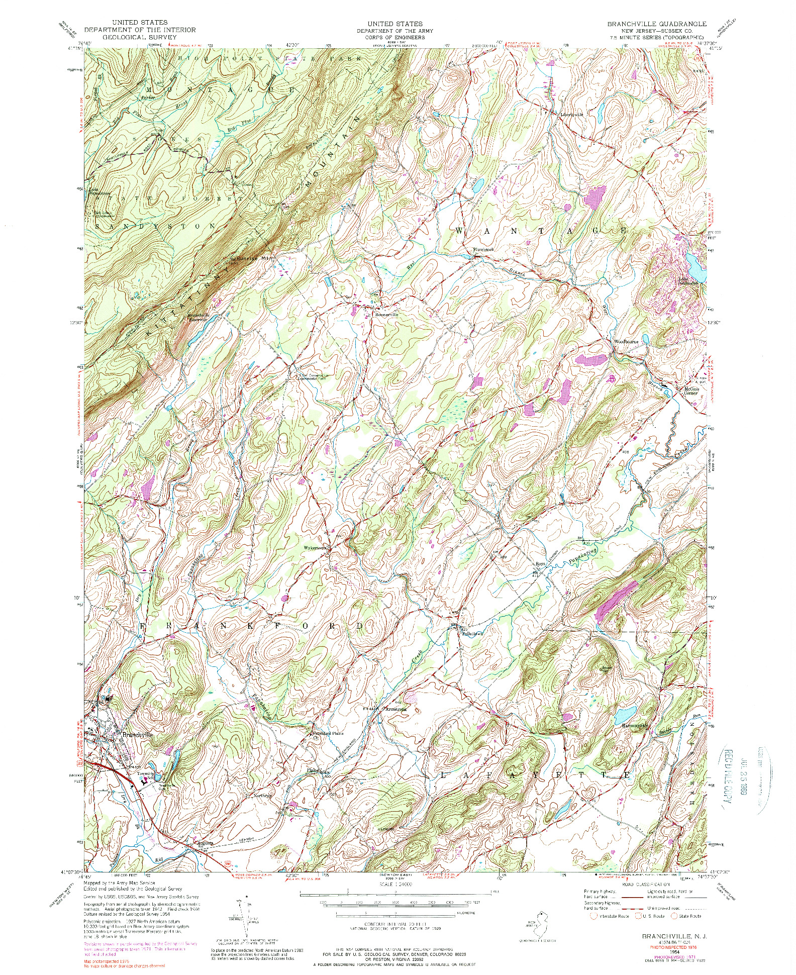 USGS 1:24000-SCALE QUADRANGLE FOR BRANCHVILLE, NJ 1954