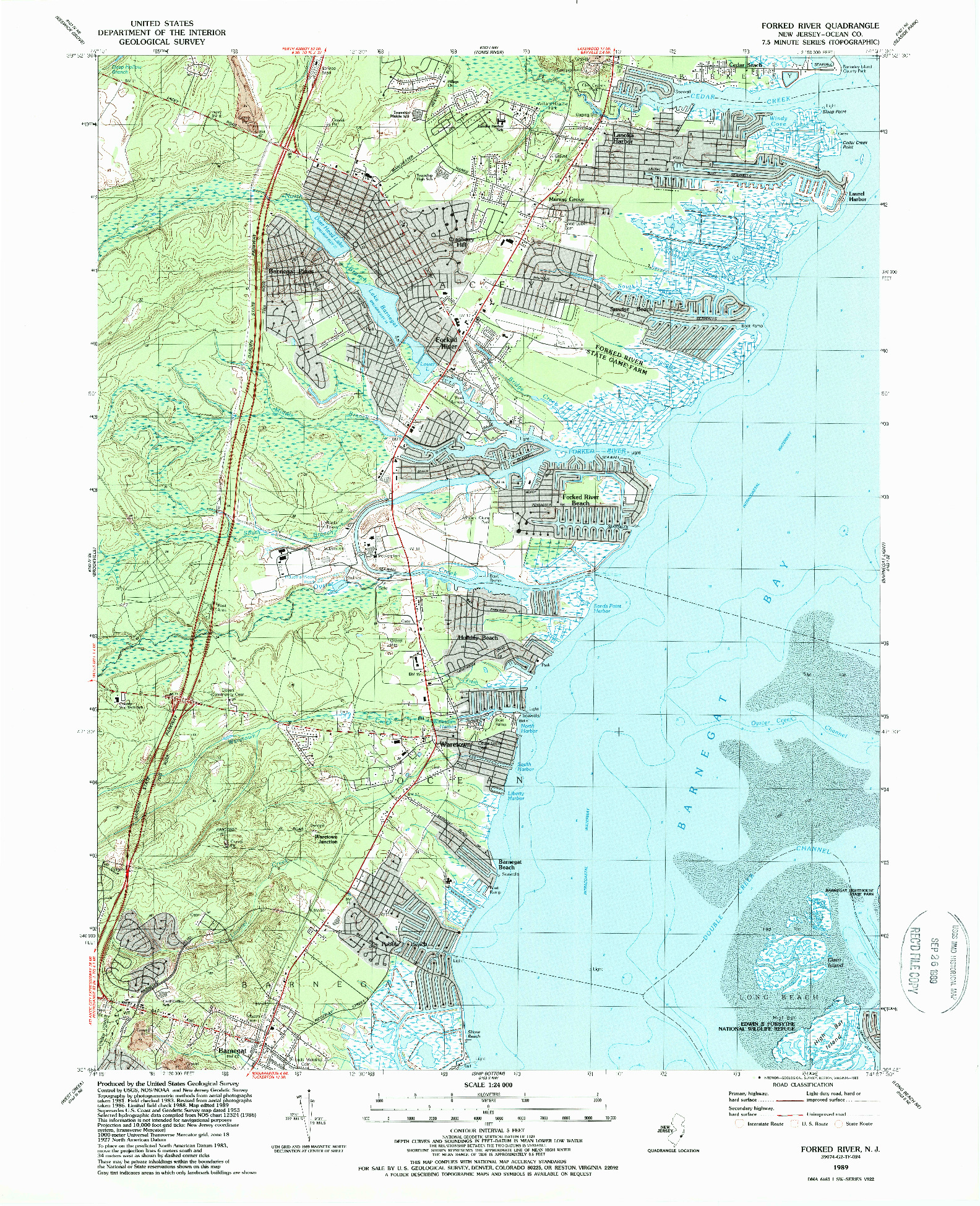 USGS 1:24000-SCALE QUADRANGLE FOR FORKED RIVER, NJ 1989