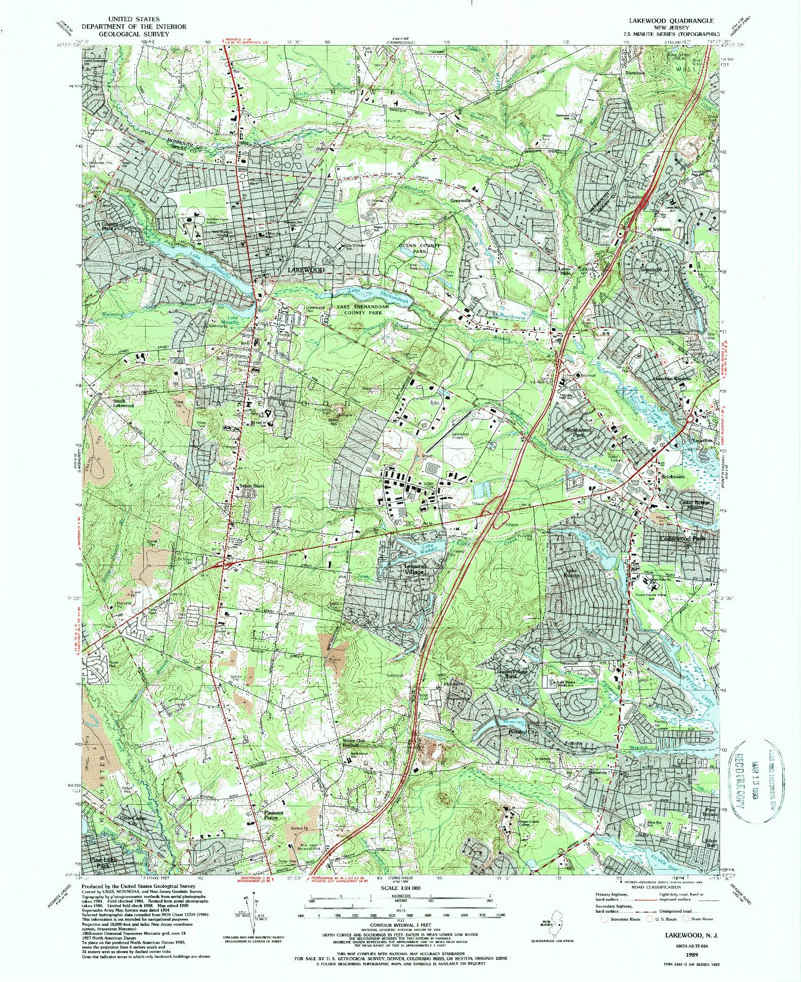 USGS 1:24000-SCALE QUADRANGLE FOR LAKEWOOD, NJ 1989