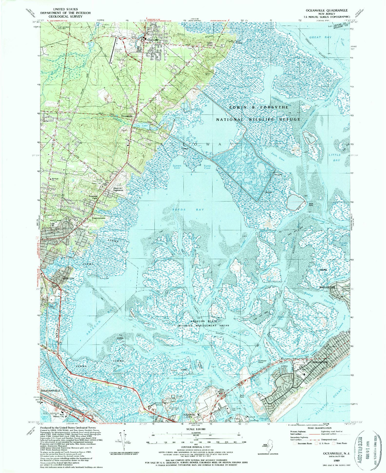 USGS 1:24000-SCALE QUADRANGLE FOR OCEANVILLE, NJ 1989