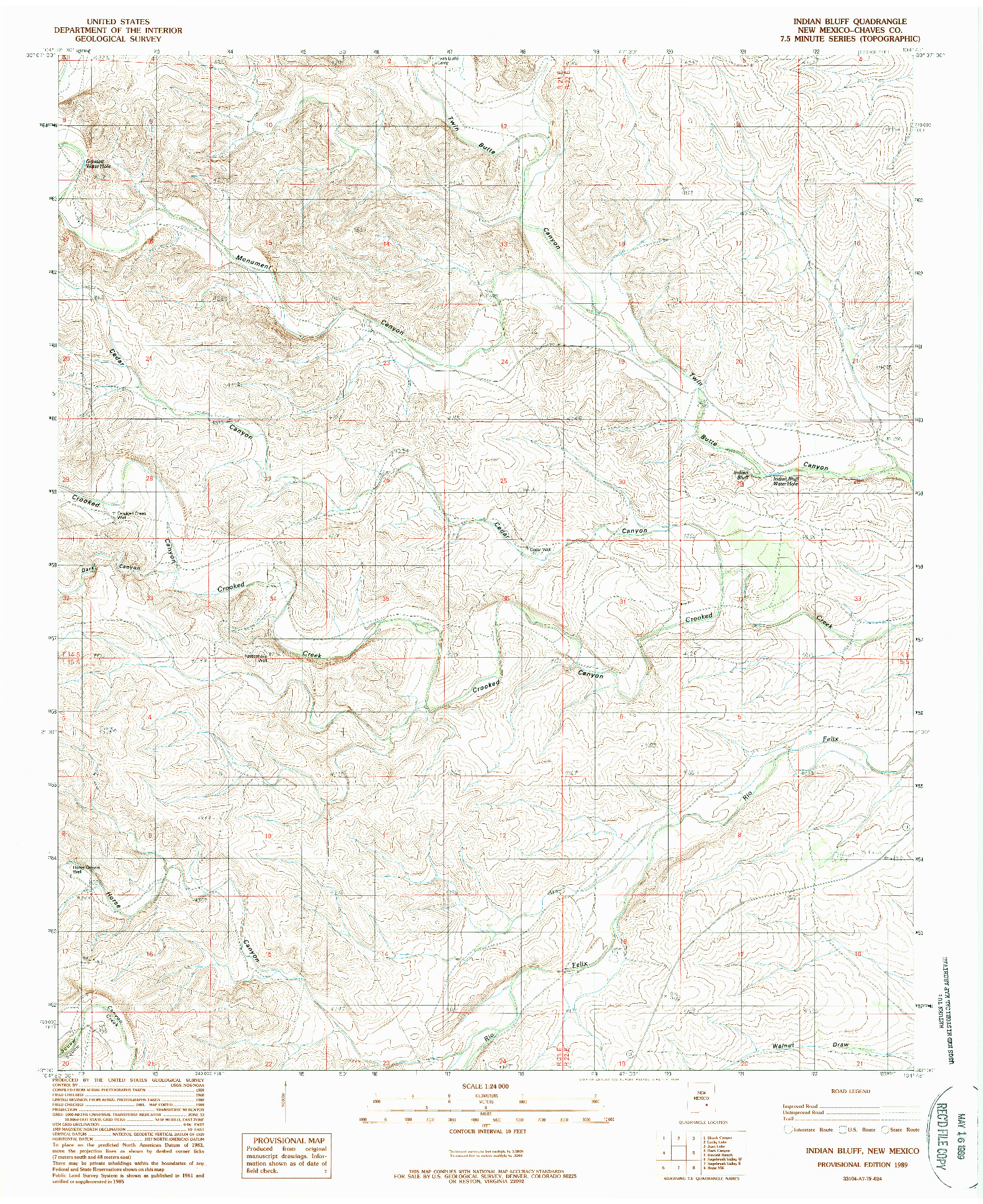USGS 1:24000-SCALE QUADRANGLE FOR INDIAN BLUFF, NM 1989