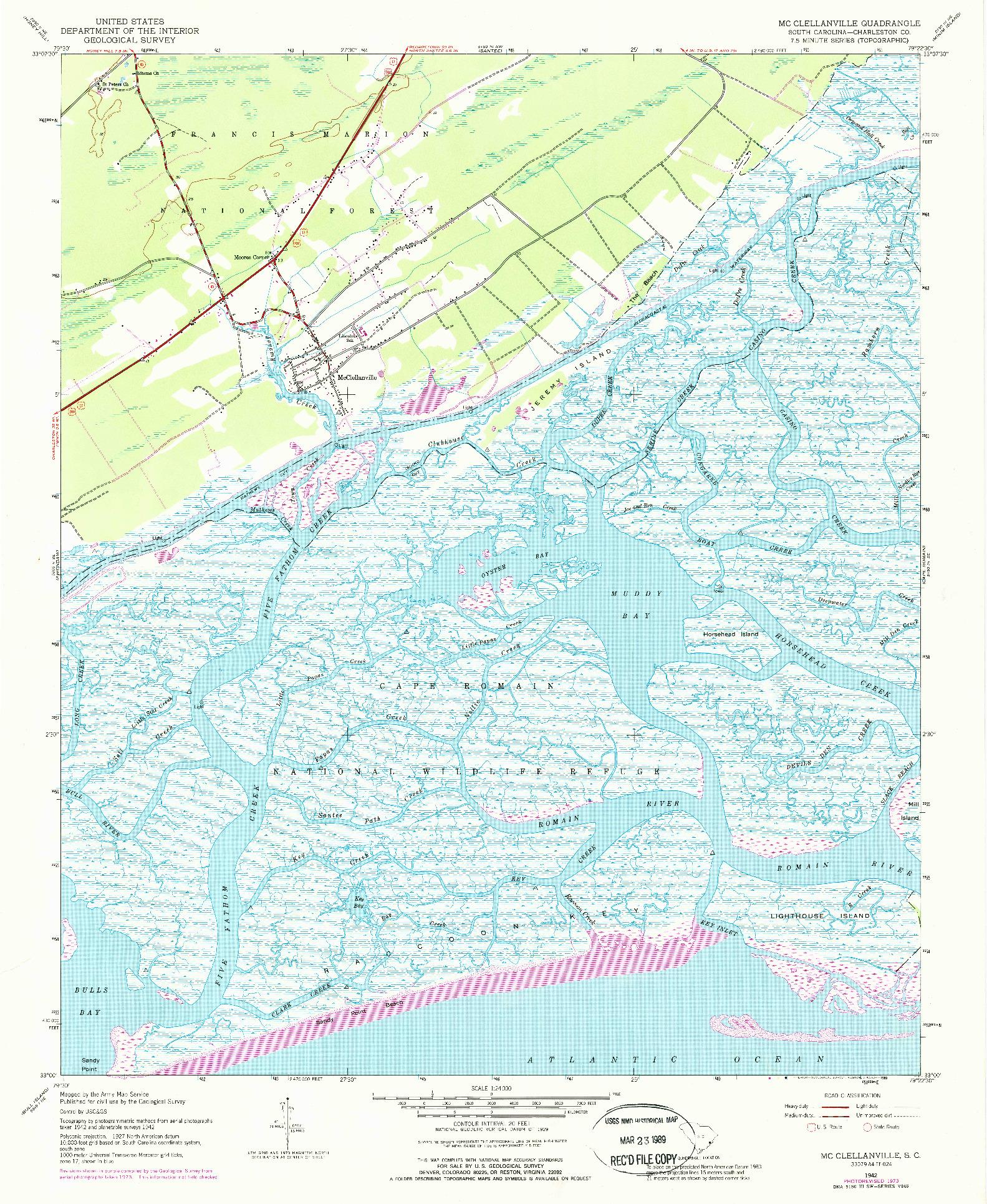 USGS 1:24000-SCALE QUADRANGLE FOR MC CLELLANVILLE, SC 1942
