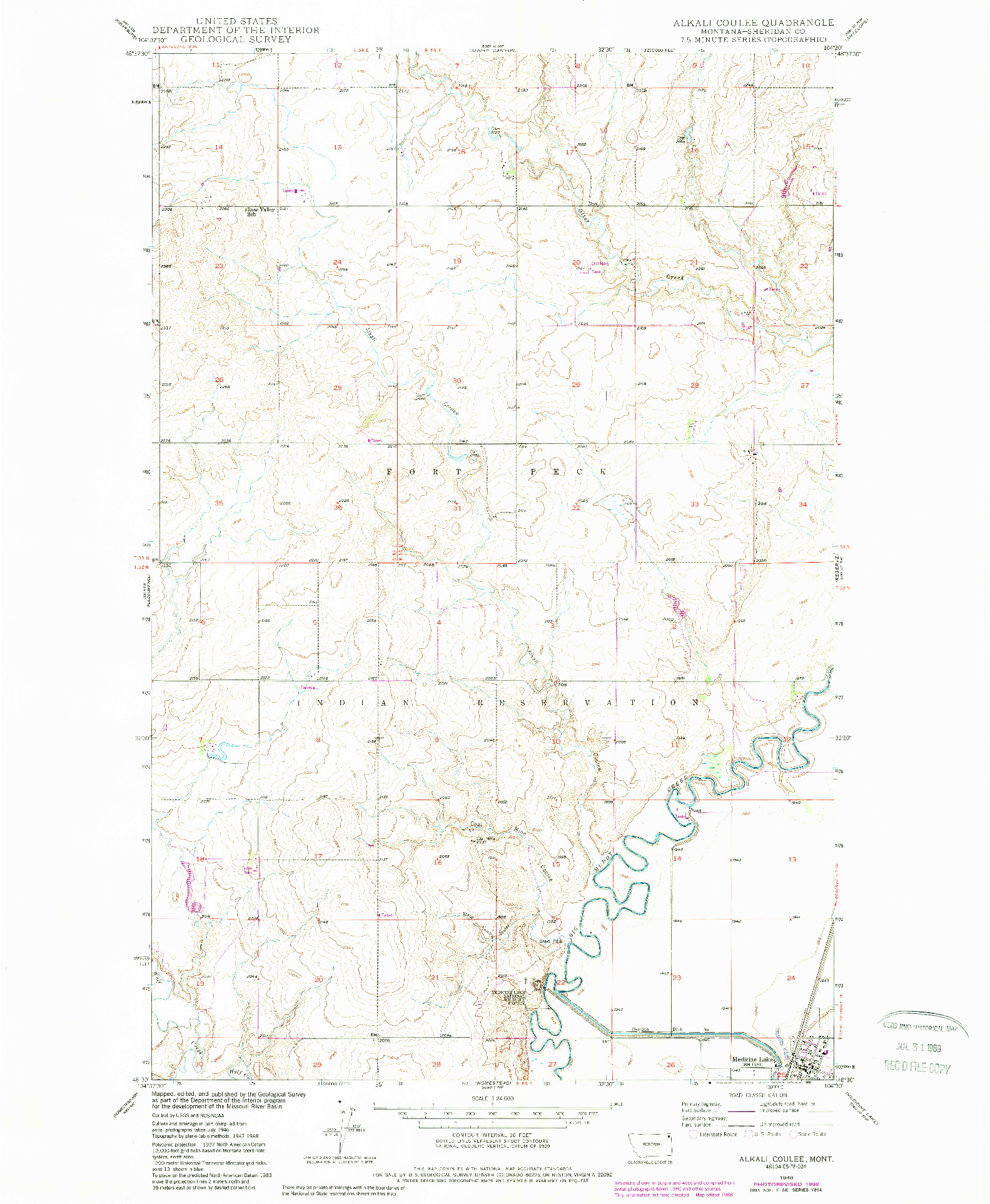 USGS 1:24000-SCALE QUADRANGLE FOR ALKALI COULEE, MT 1948