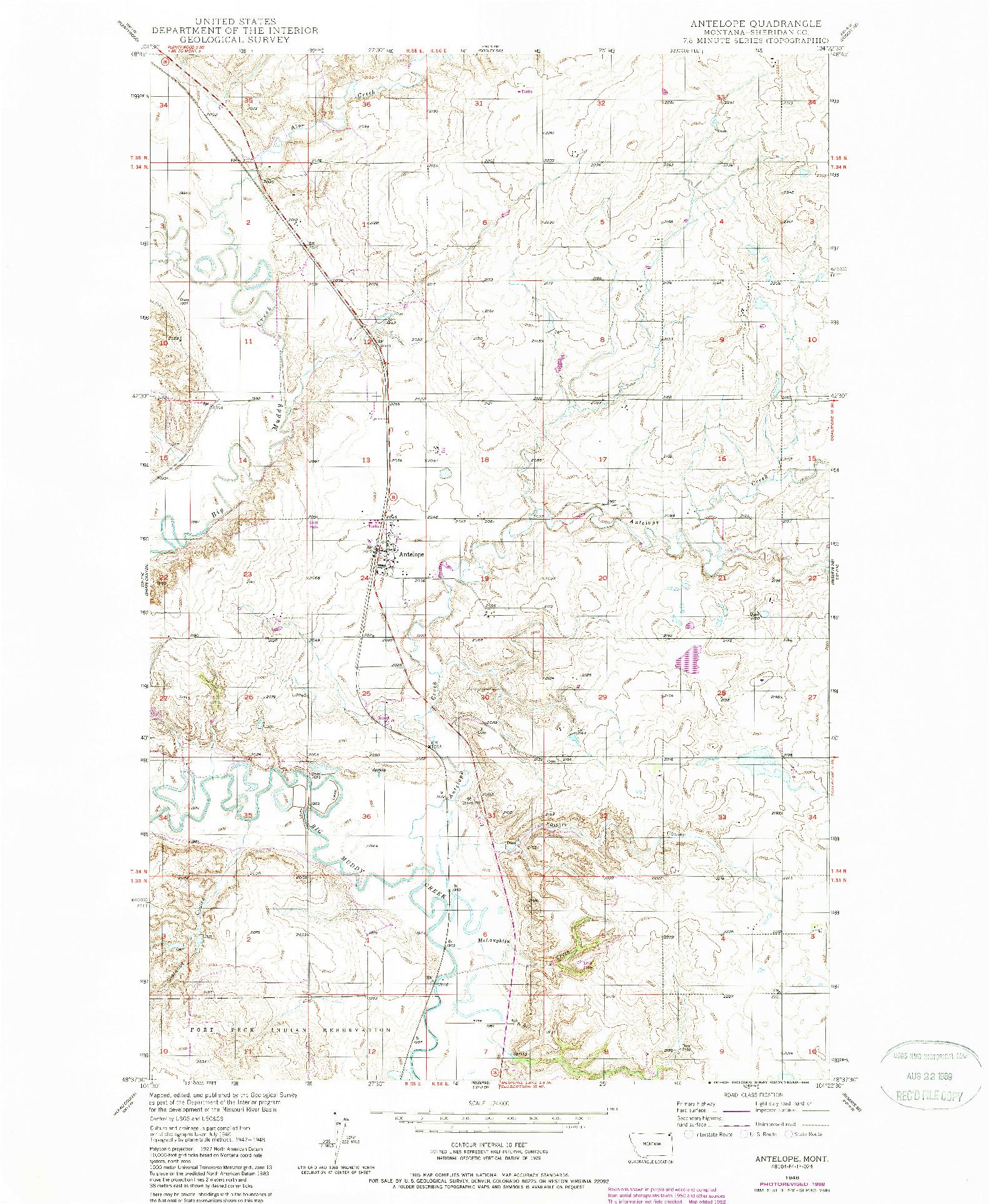 USGS 1:24000-SCALE QUADRANGLE FOR ANTELOPE, MT 1948
