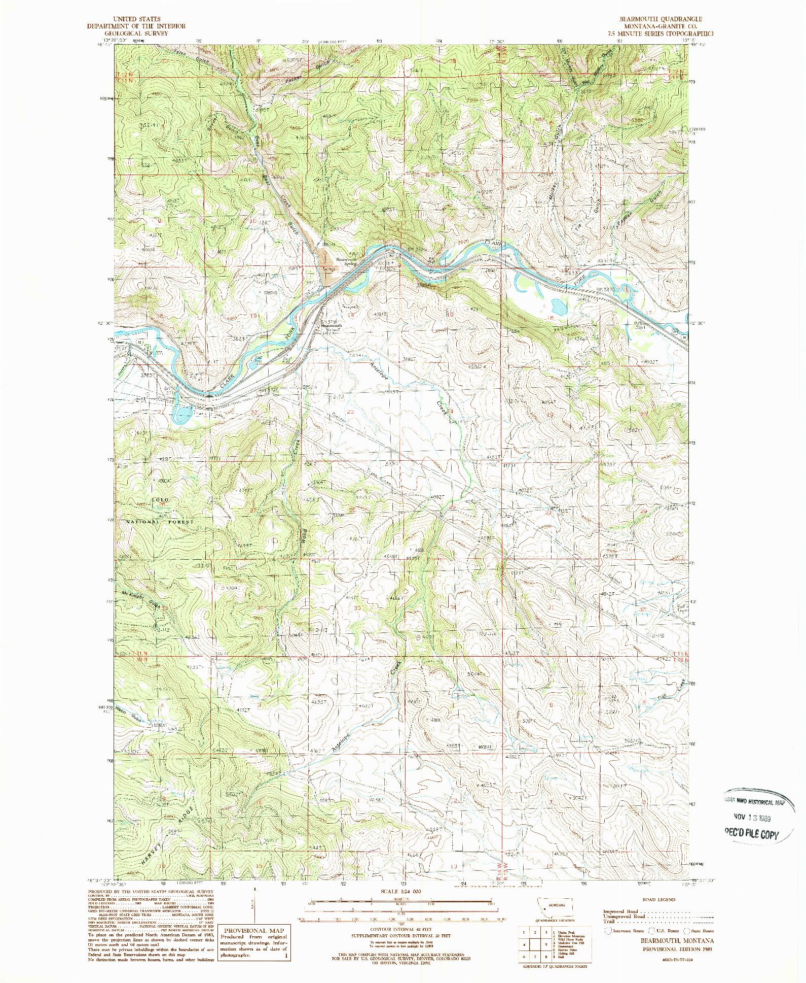 USGS 1:24000-SCALE QUADRANGLE FOR BEARMOUTH, MT 1989