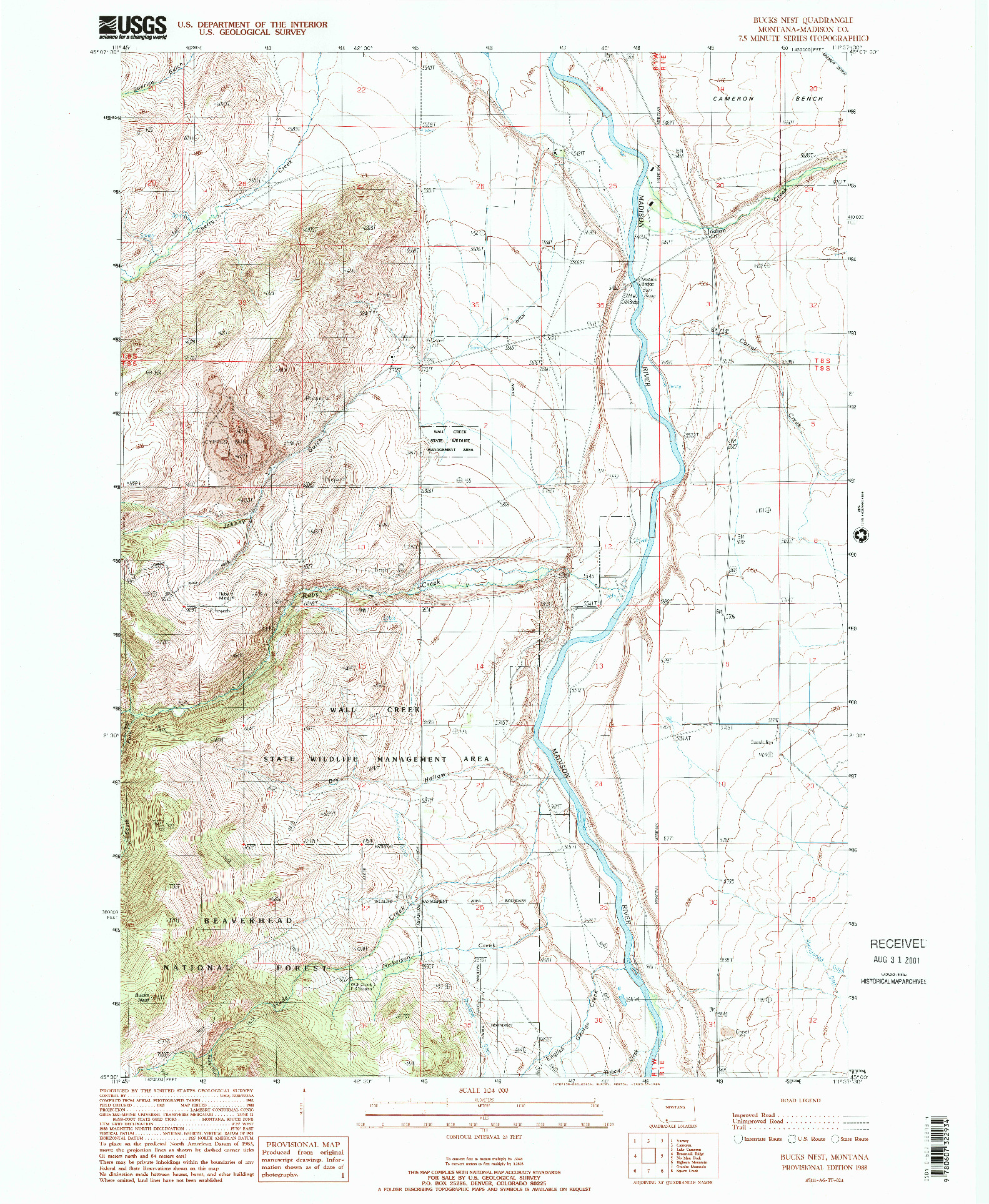 USGS 1:24000-SCALE QUADRANGLE FOR BUCKS NEST, MT 1988