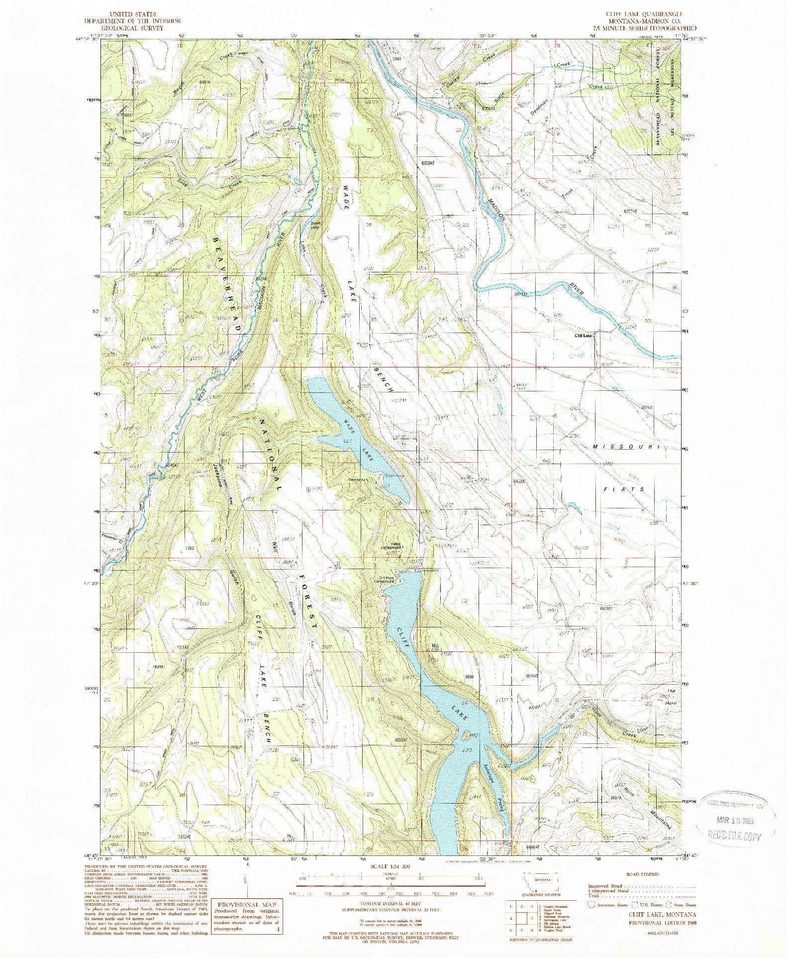 USGS 1:24000-SCALE QUADRANGLE FOR CLIFF LAKE, MT 1988