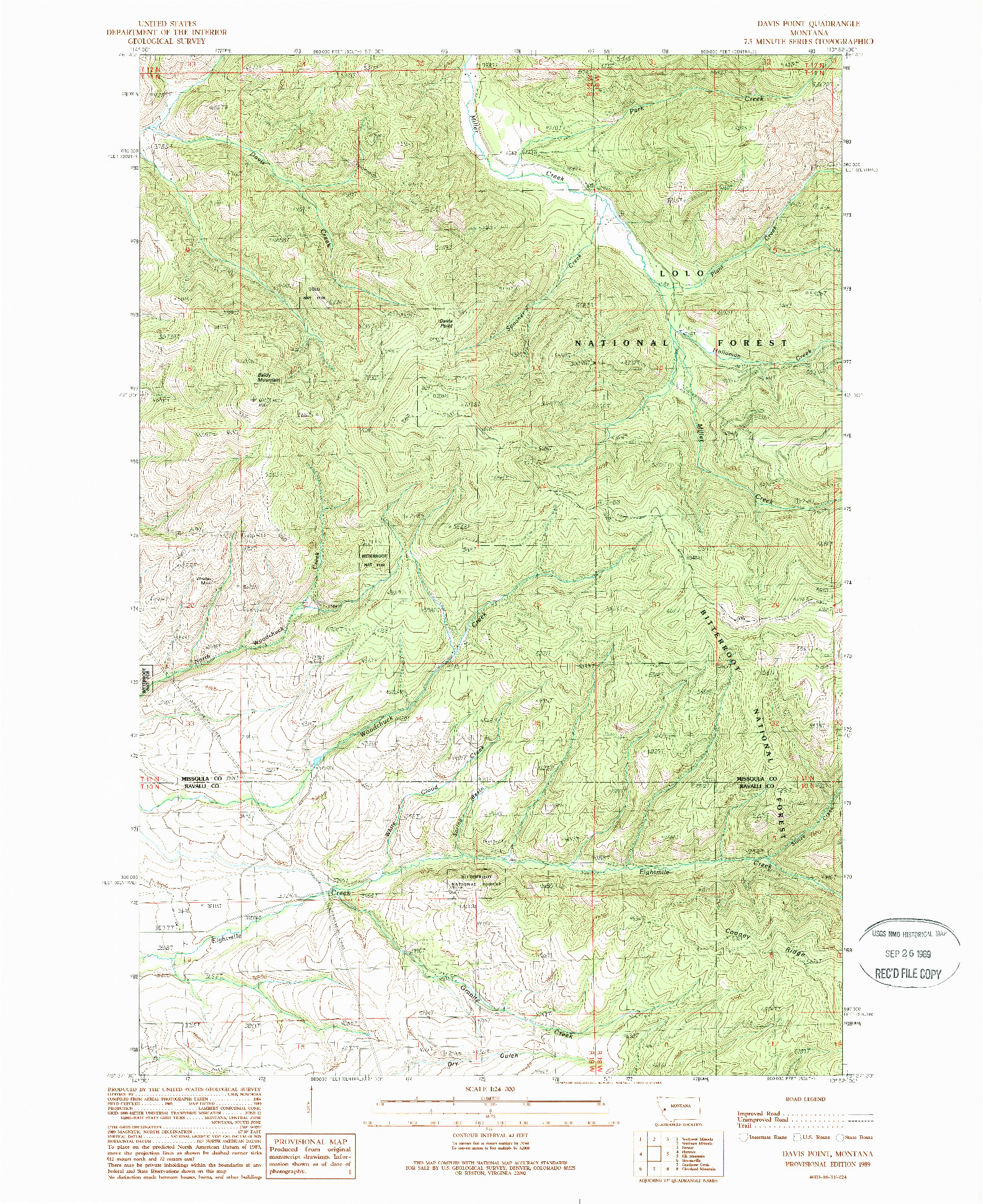 USGS 1:24000-SCALE QUADRANGLE FOR DAVIS POINT, MT 1989