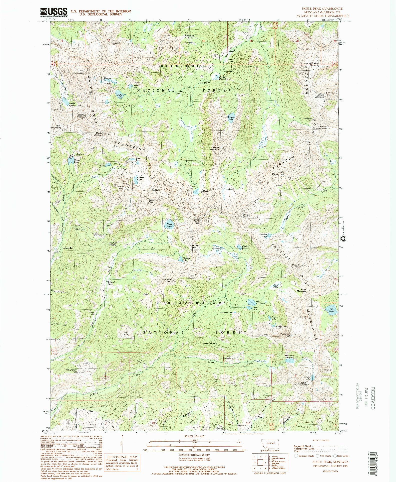 USGS 1:24000-SCALE QUADRANGLE FOR NOBLE PEAK, MT 1989