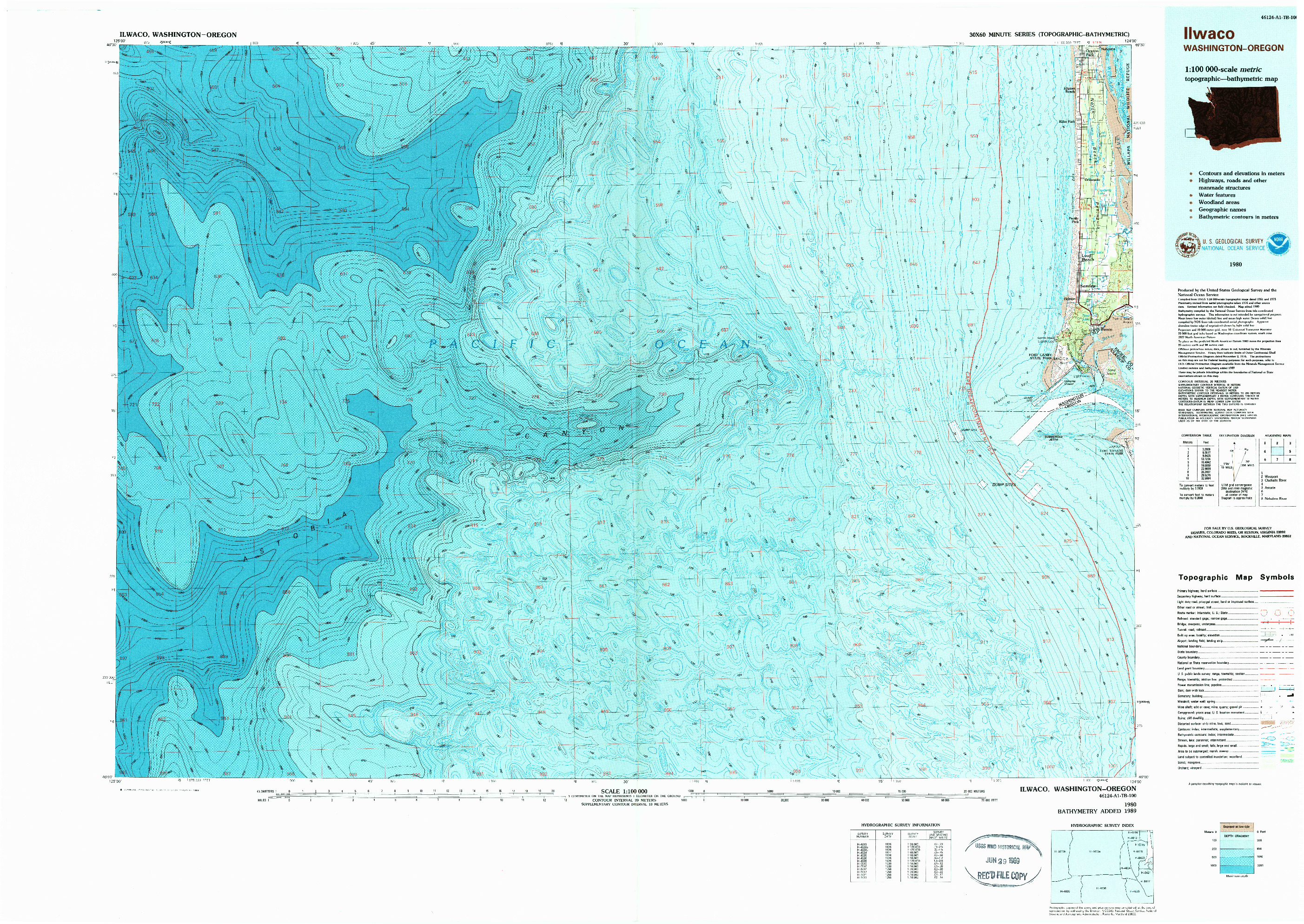 USGS 1:100000-SCALE QUADRANGLE FOR ILWACO, WA 1980