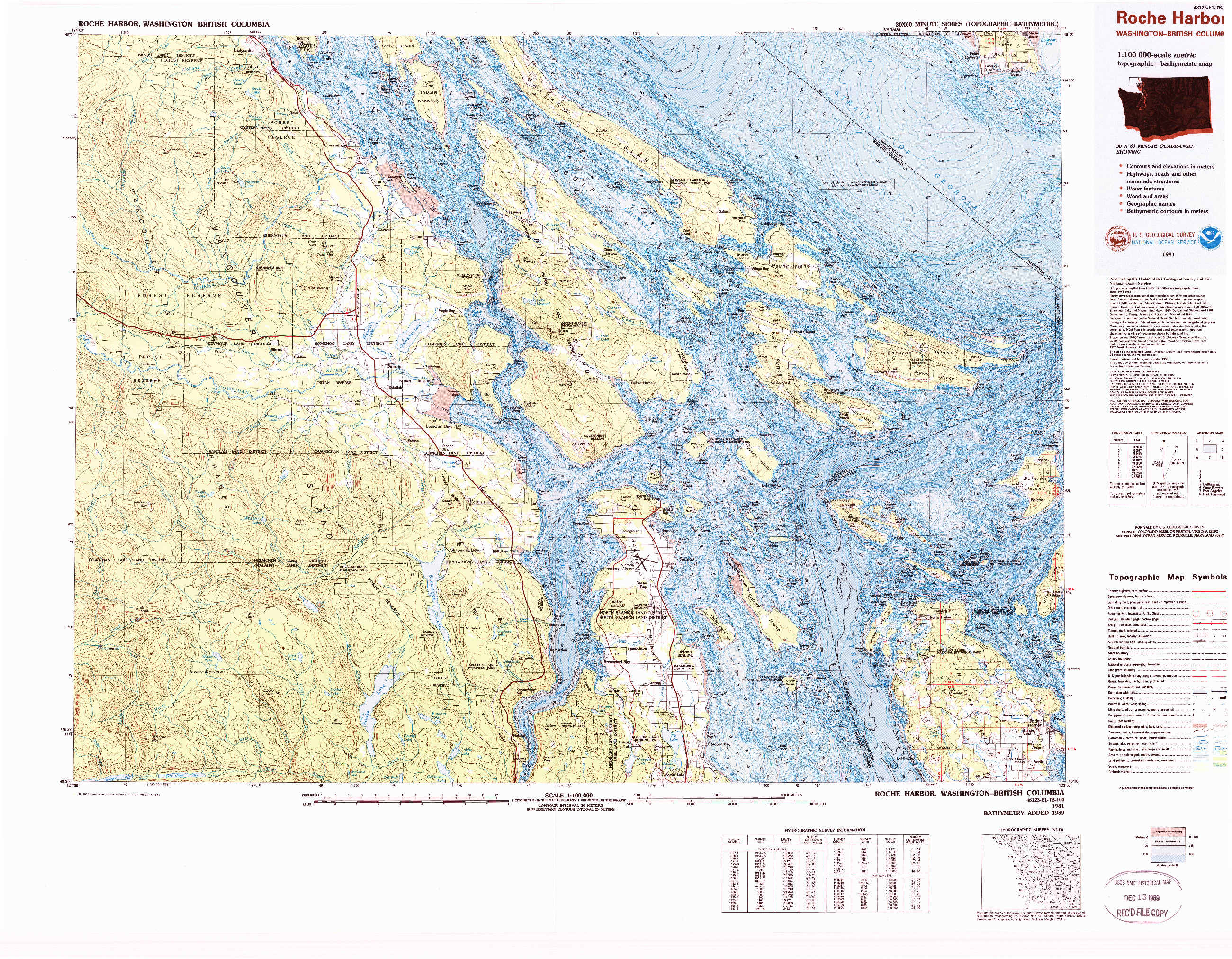 USGS 1:100000-SCALE QUADRANGLE FOR ROCHE HARBOR, WA 1981