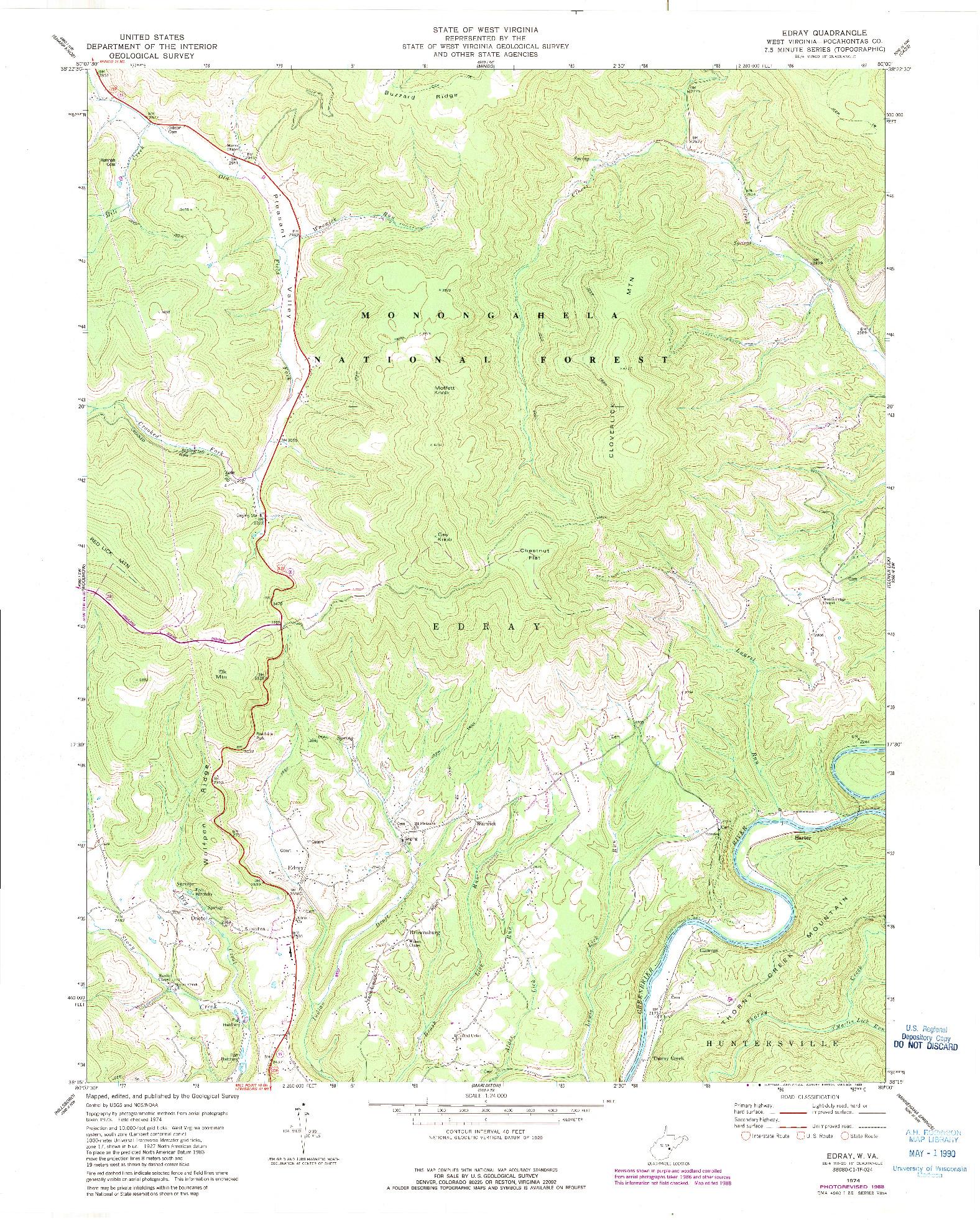 USGS 1:24000-SCALE QUADRANGLE FOR EDRAY, WV 1974