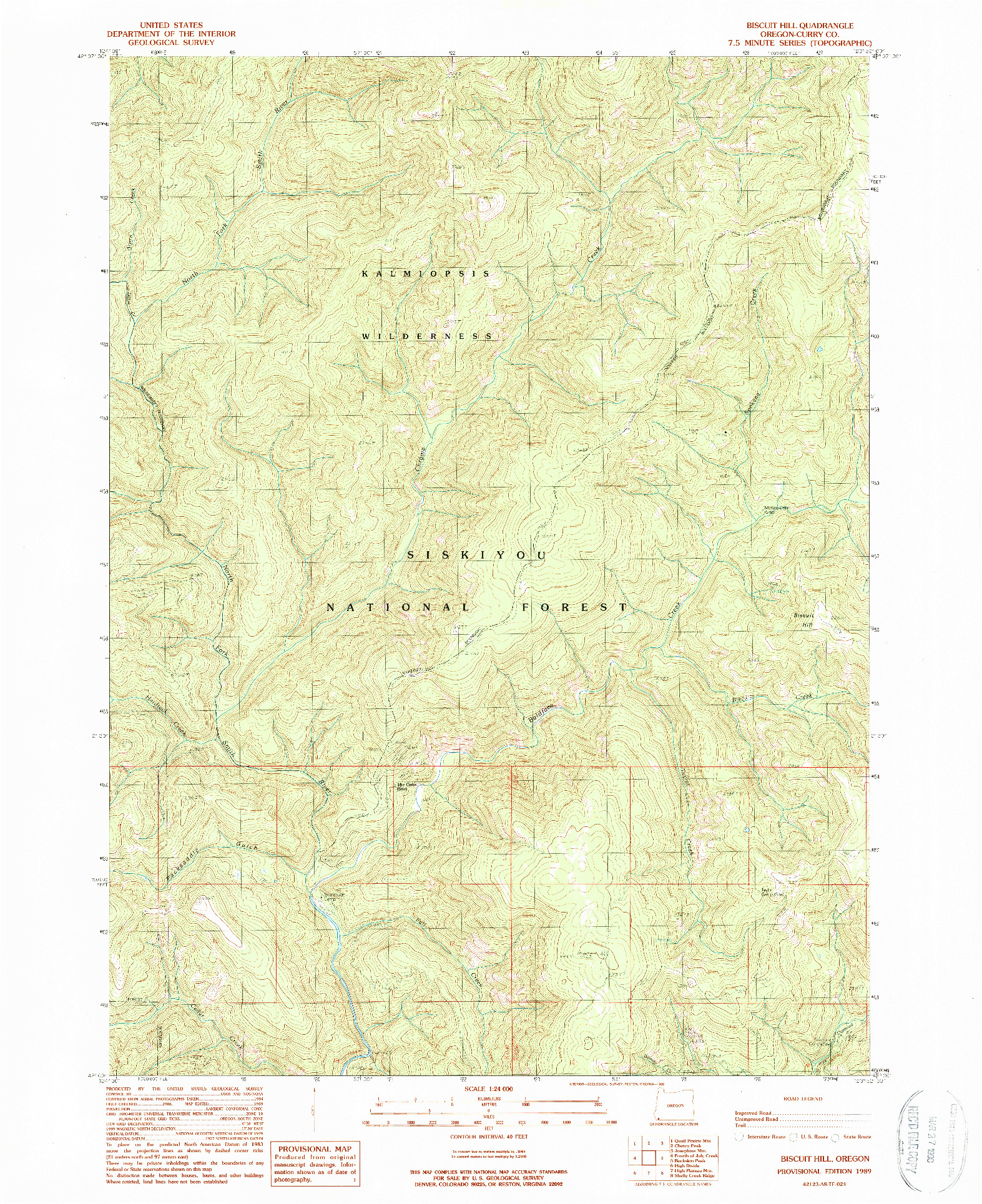 USGS 1:24000-SCALE QUADRANGLE FOR BISCUIT HILL, OR 1989