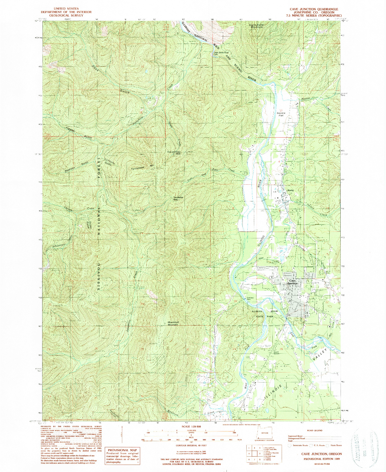 USGS 1:24000-SCALE QUADRANGLE FOR CAVE JUNCTION, OR 1989