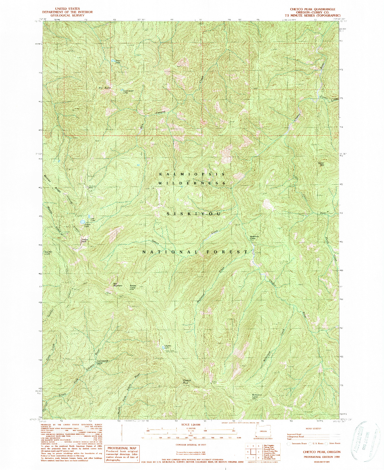 USGS 1:24000-SCALE QUADRANGLE FOR CHETCO PEAK, OR 1989