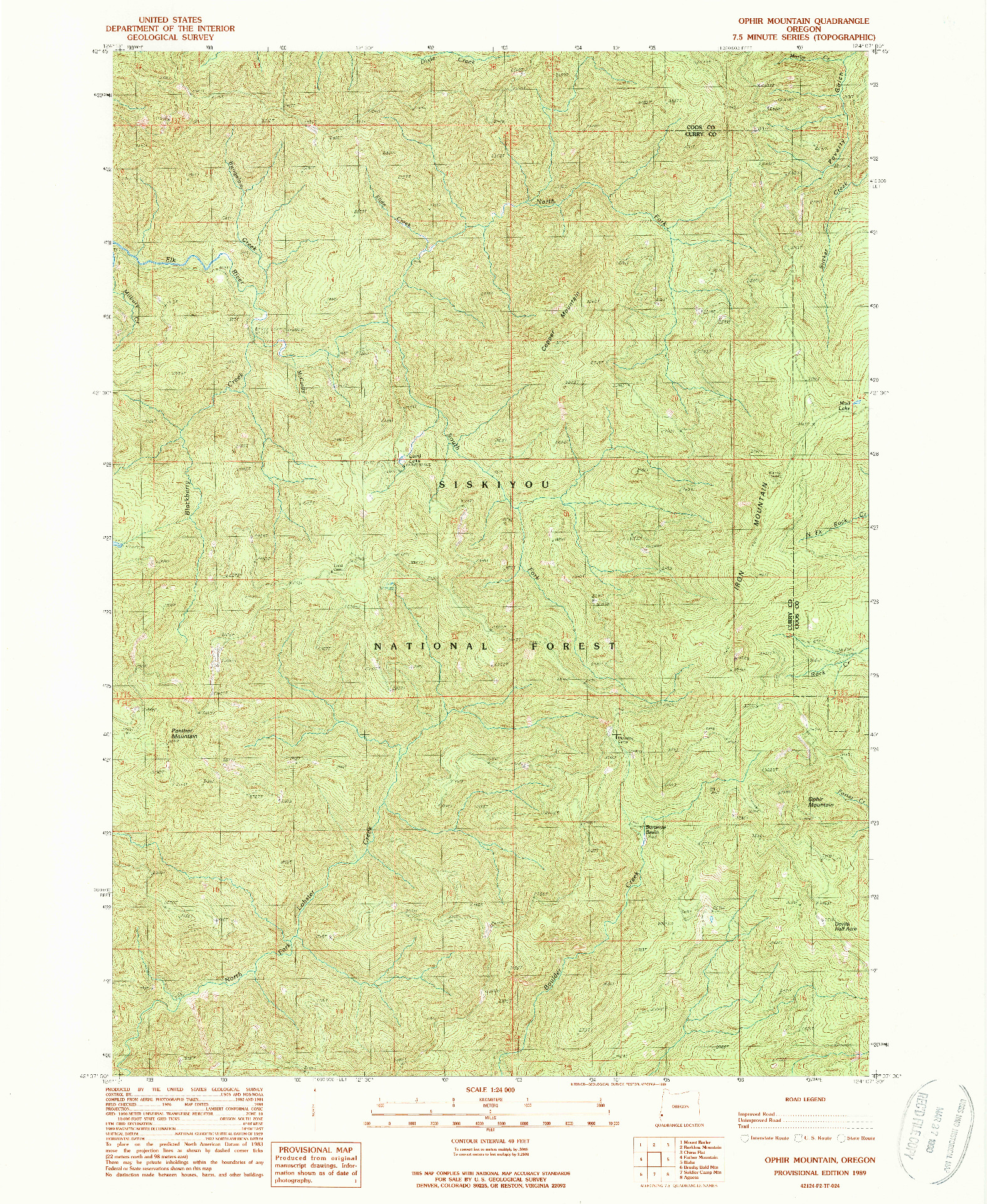 USGS 1:24000-SCALE QUADRANGLE FOR OPHIR MOUNTAIN, OR 1989