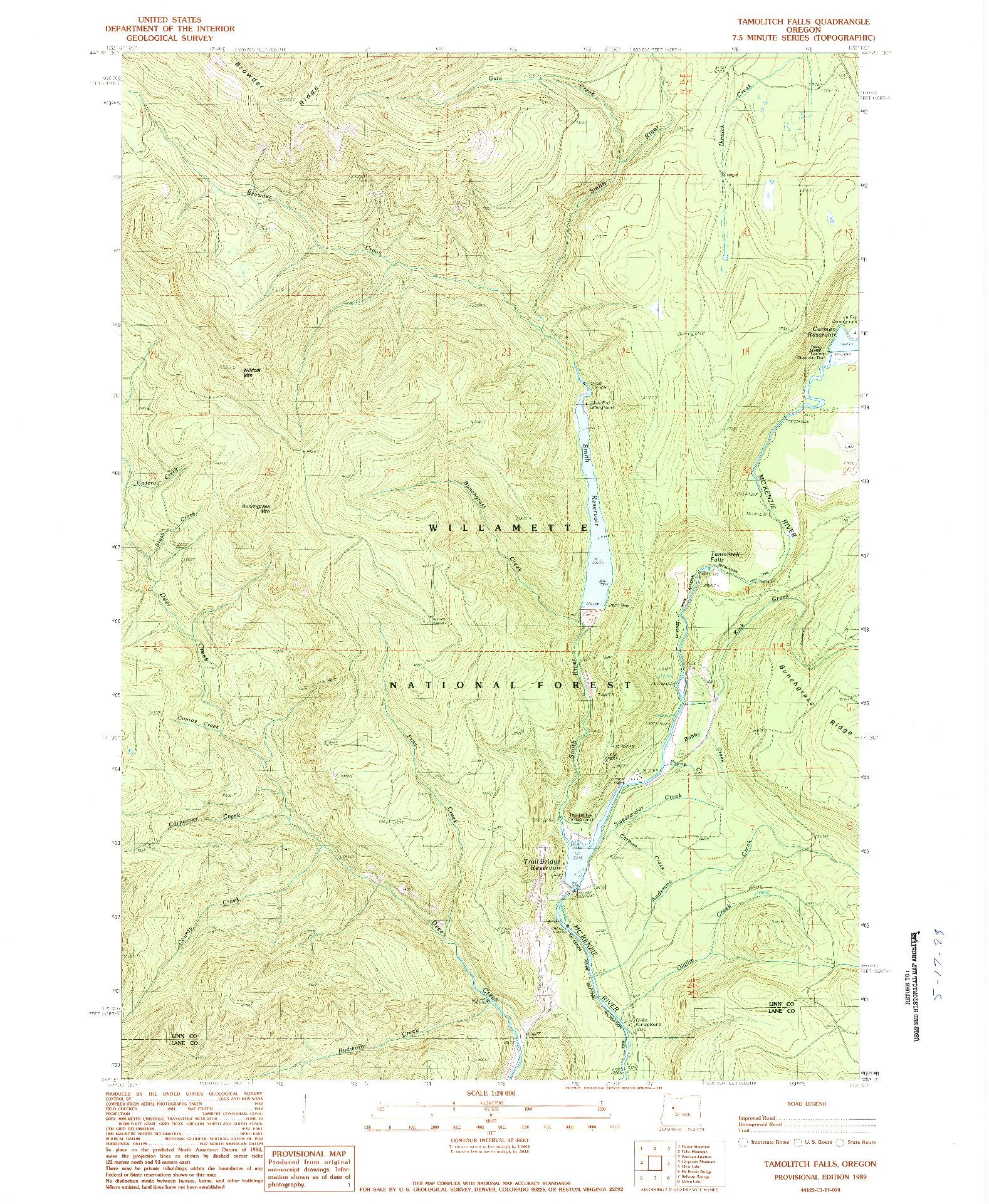 USGS 1:24000-SCALE QUADRANGLE FOR TAMOLITCH FALLS, OR 1989