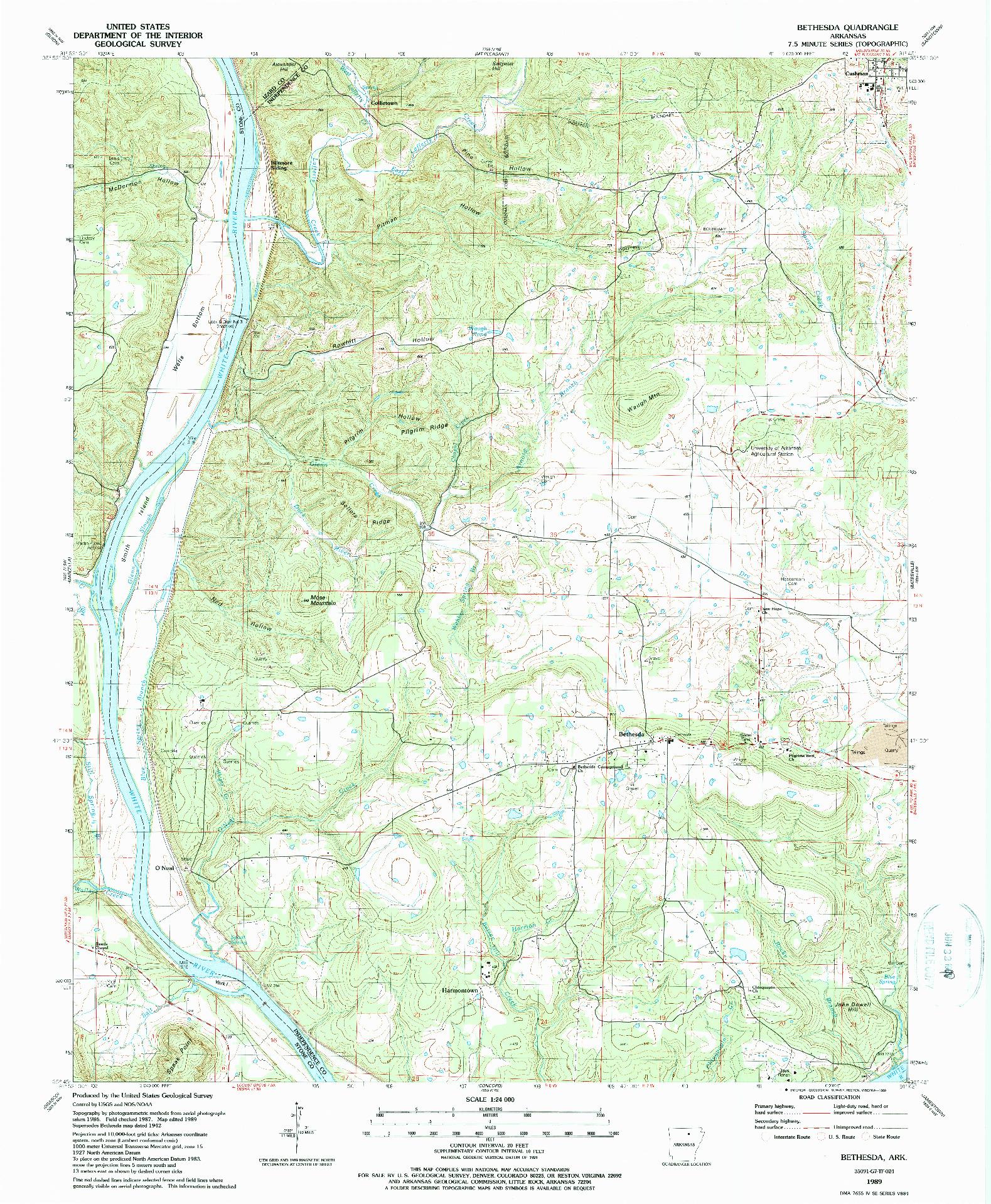 USGS 1:24000-SCALE QUADRANGLE FOR BETHESDA, AR 1989