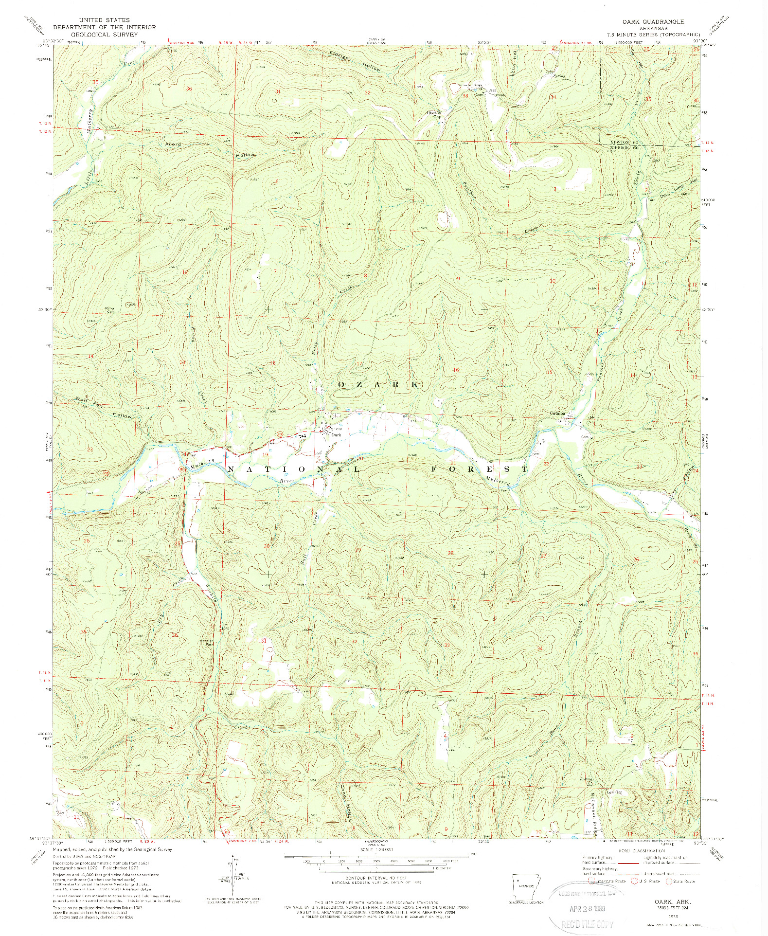 USGS 1:24000-SCALE QUADRANGLE FOR OARK, AR 1973