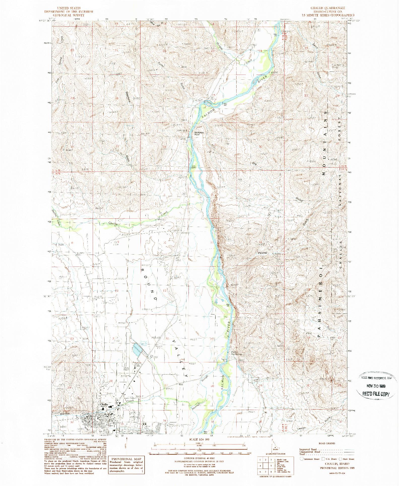 USGS 1:24000-SCALE QUADRANGLE FOR CHALLIS, ID 1989
