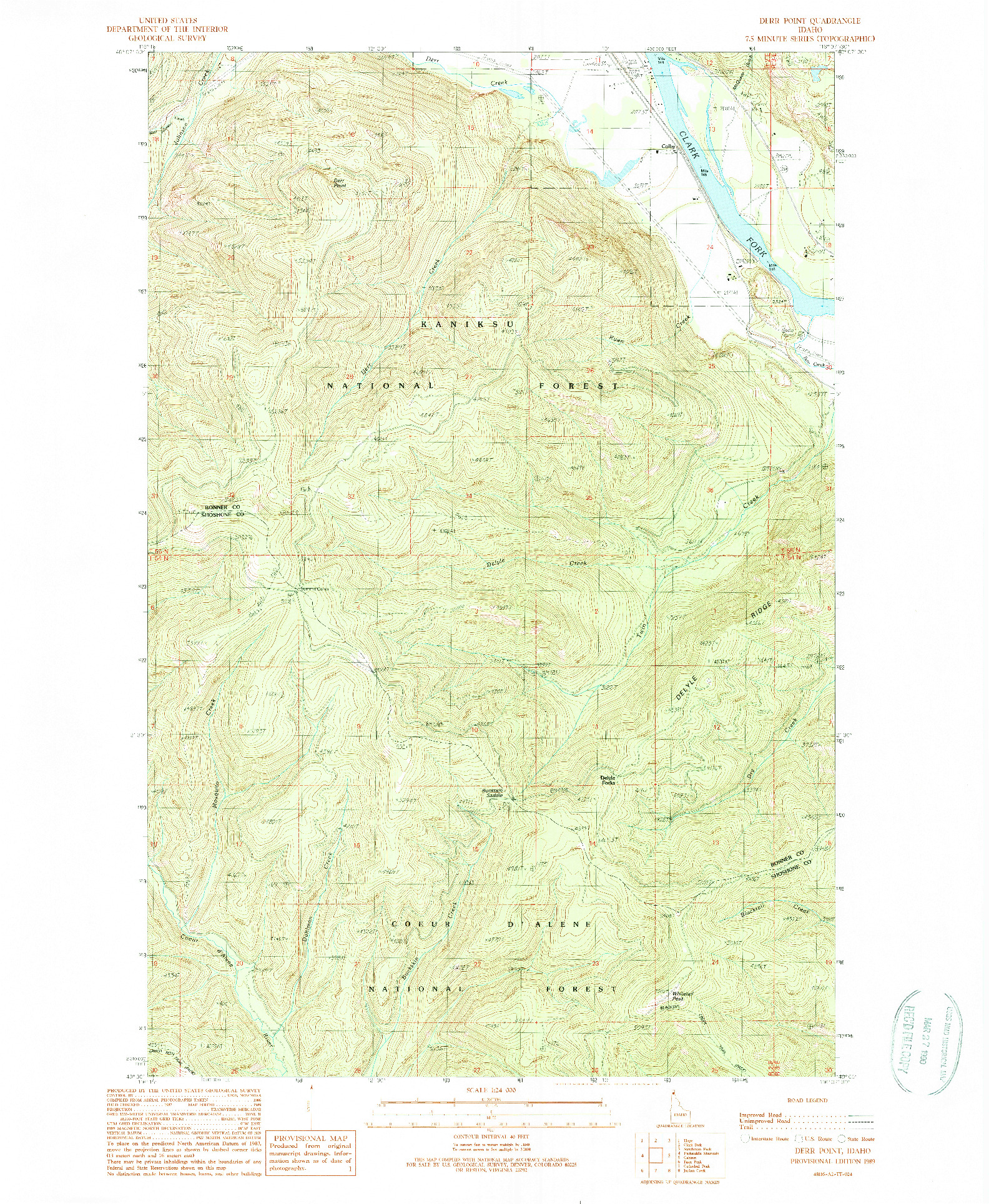 USGS 1:24000-SCALE QUADRANGLE FOR DERR POINT, ID 1989