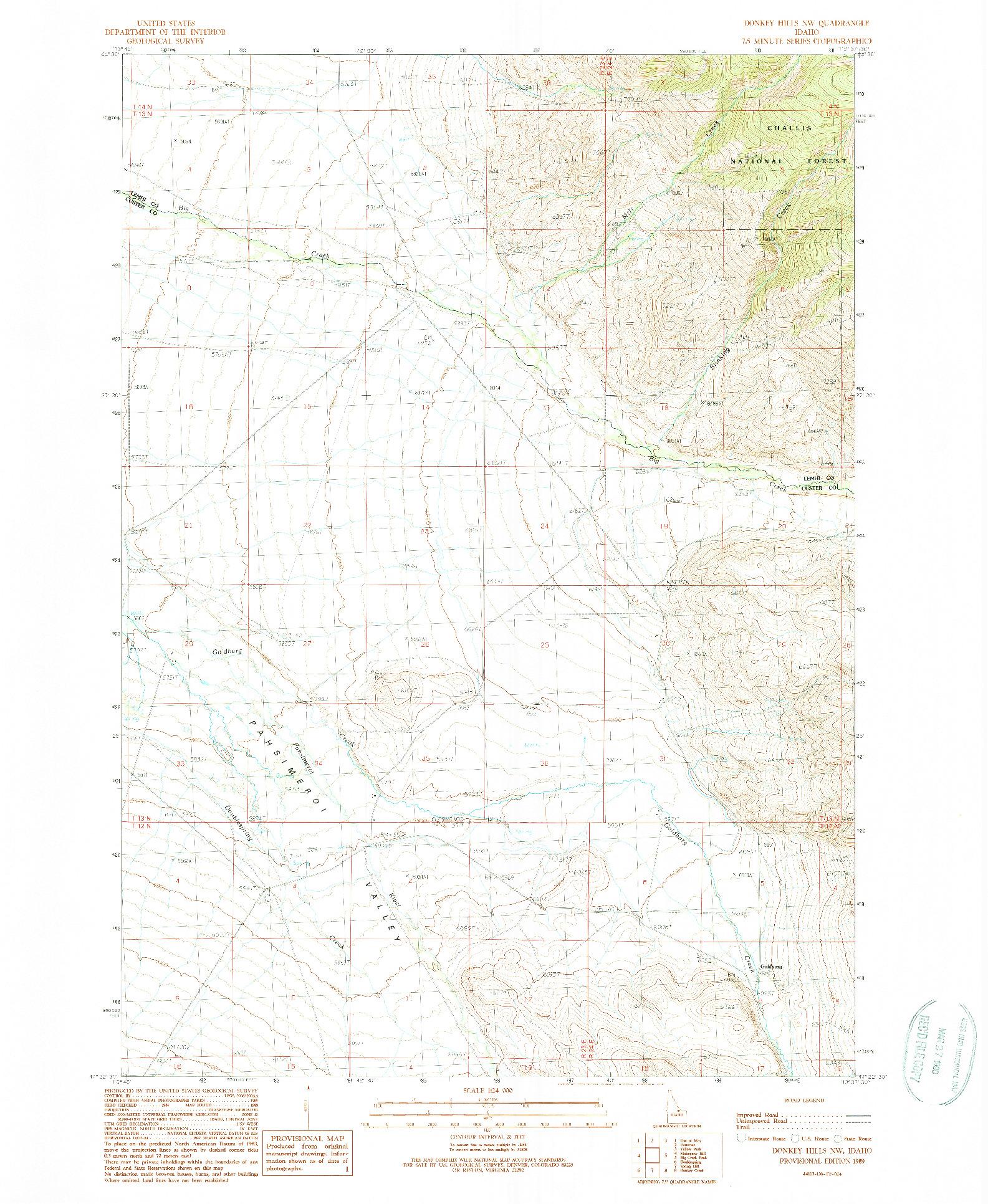 USGS 1:24000-SCALE QUADRANGLE FOR DONKEY HILLS NW, ID 1989