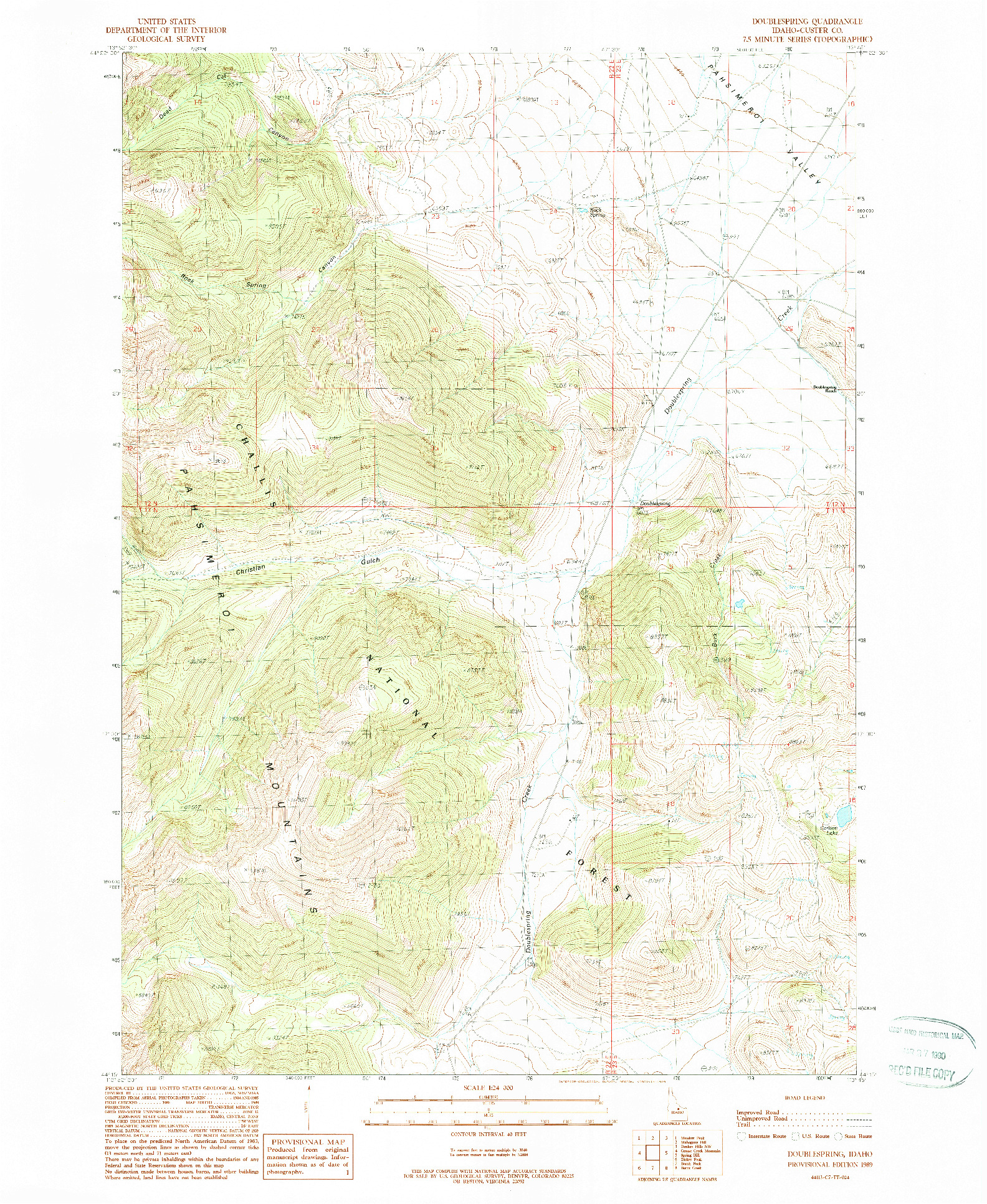 USGS 1:24000-SCALE QUADRANGLE FOR DOUBLESPRING, ID 1989