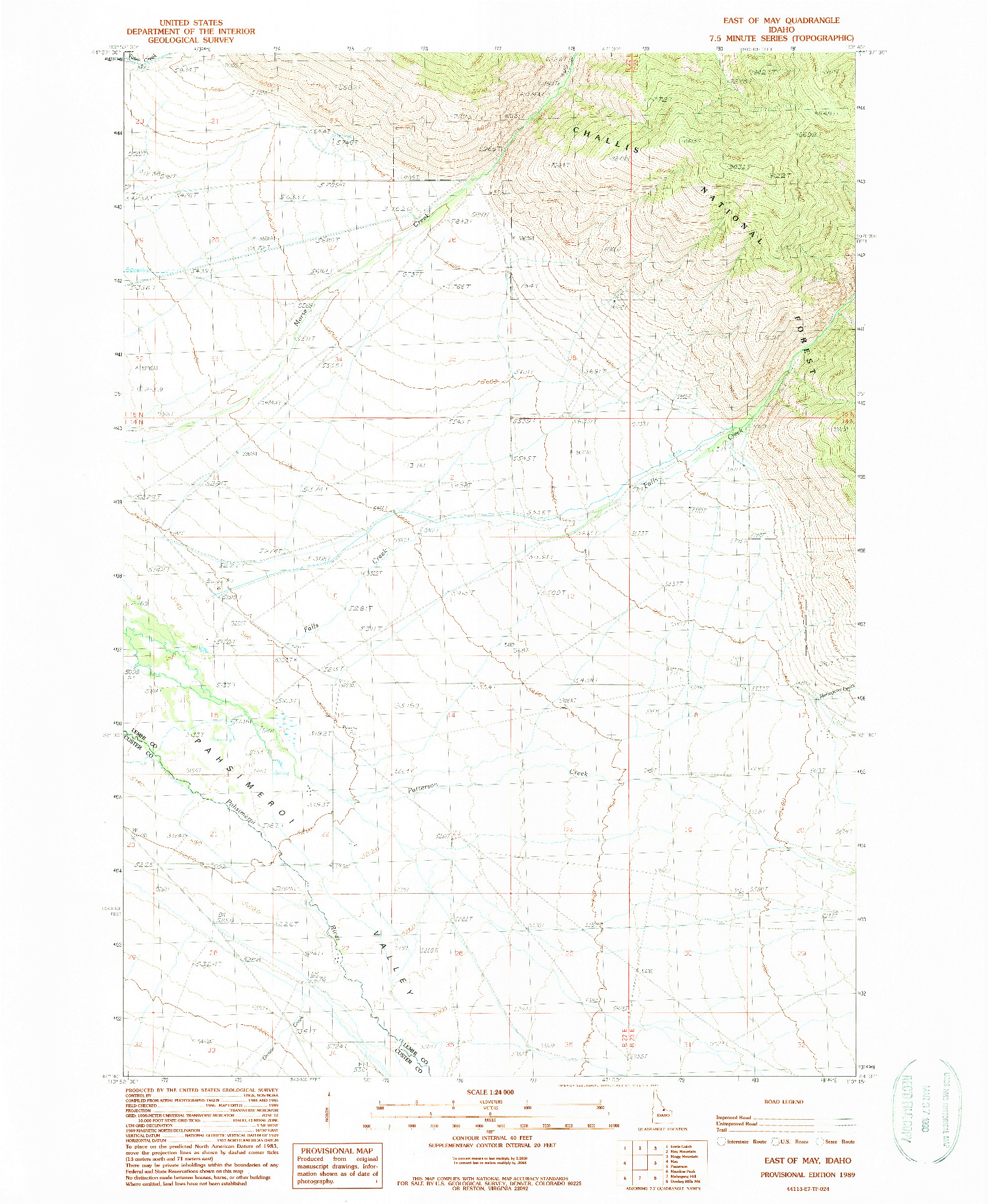 USGS 1:24000-SCALE QUADRANGLE FOR EAST OF MAY, ID 1989