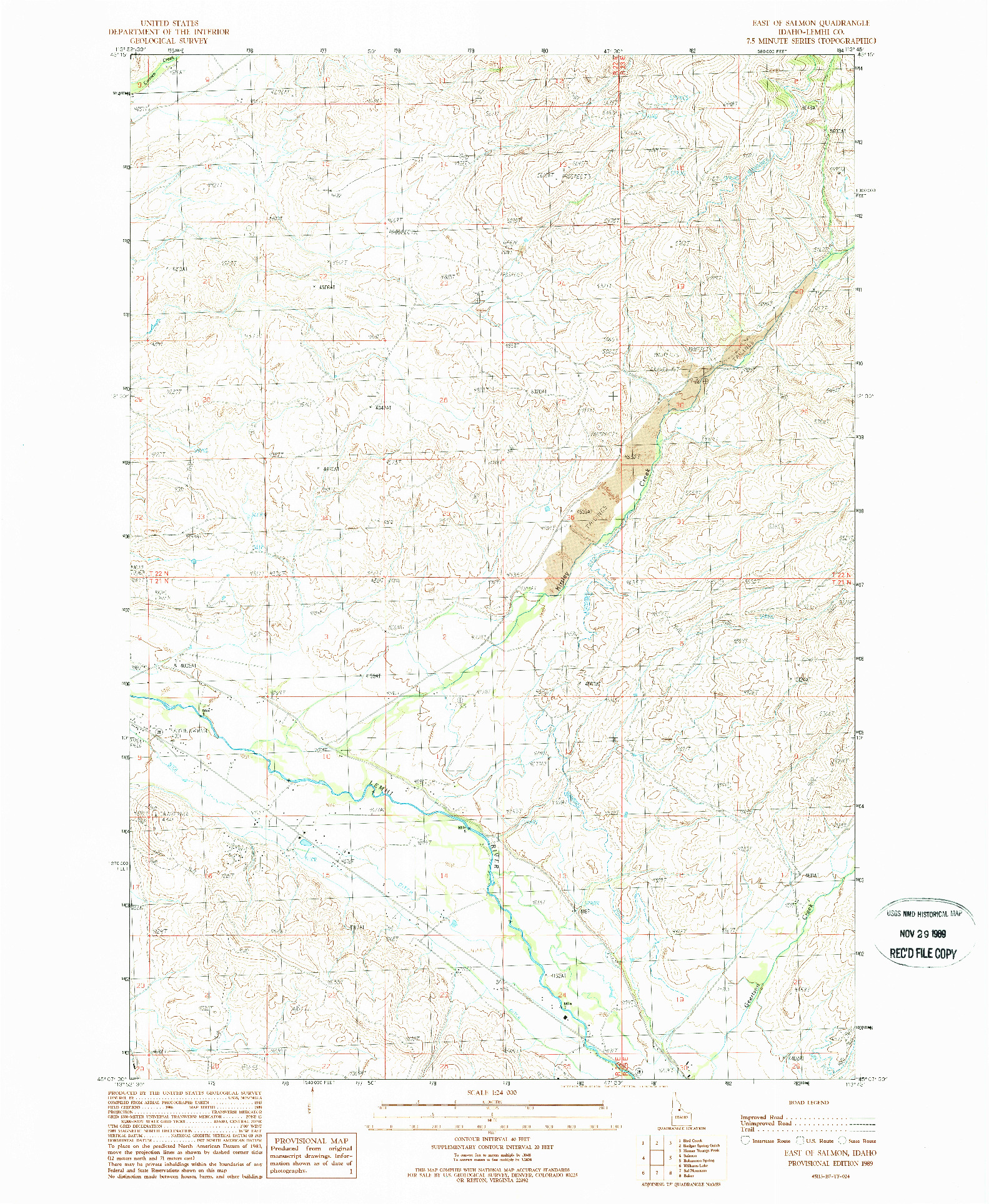 USGS 1:24000-SCALE QUADRANGLE FOR EAST OF SALMON, ID 1989