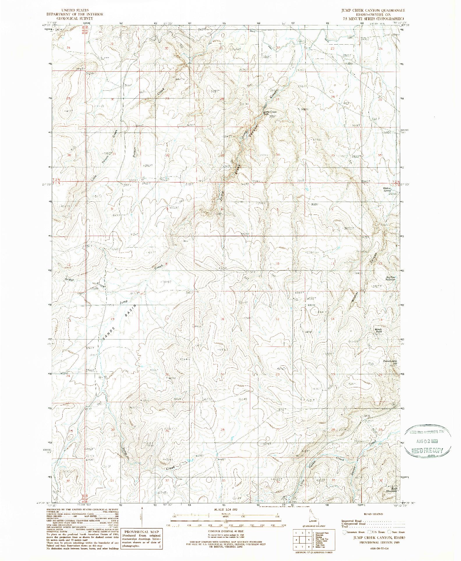 USGS 1:24000-SCALE QUADRANGLE FOR JUMP CREEK CANYON, ID 1989