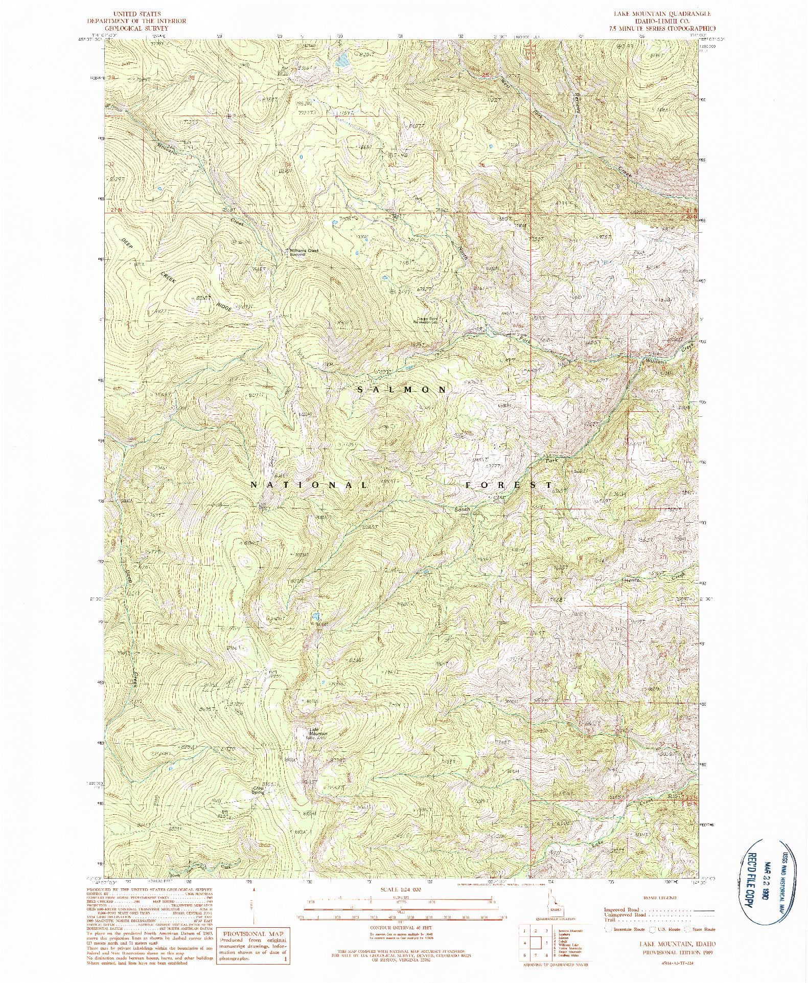 USGS 1:24000-SCALE QUADRANGLE FOR LAKE MOUNTAIN, ID 1989