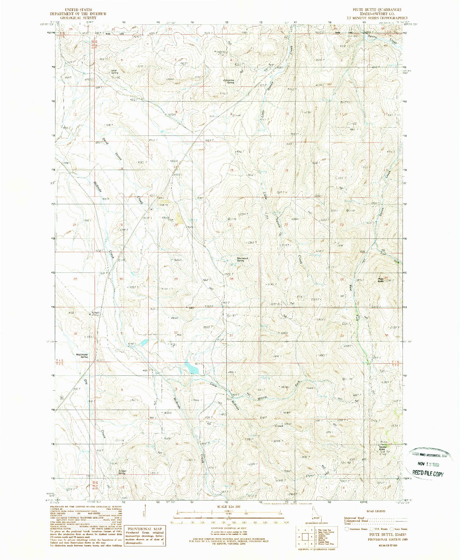 USGS 1:24000-SCALE QUADRANGLE FOR PIUTE BUTTE, ID 1989