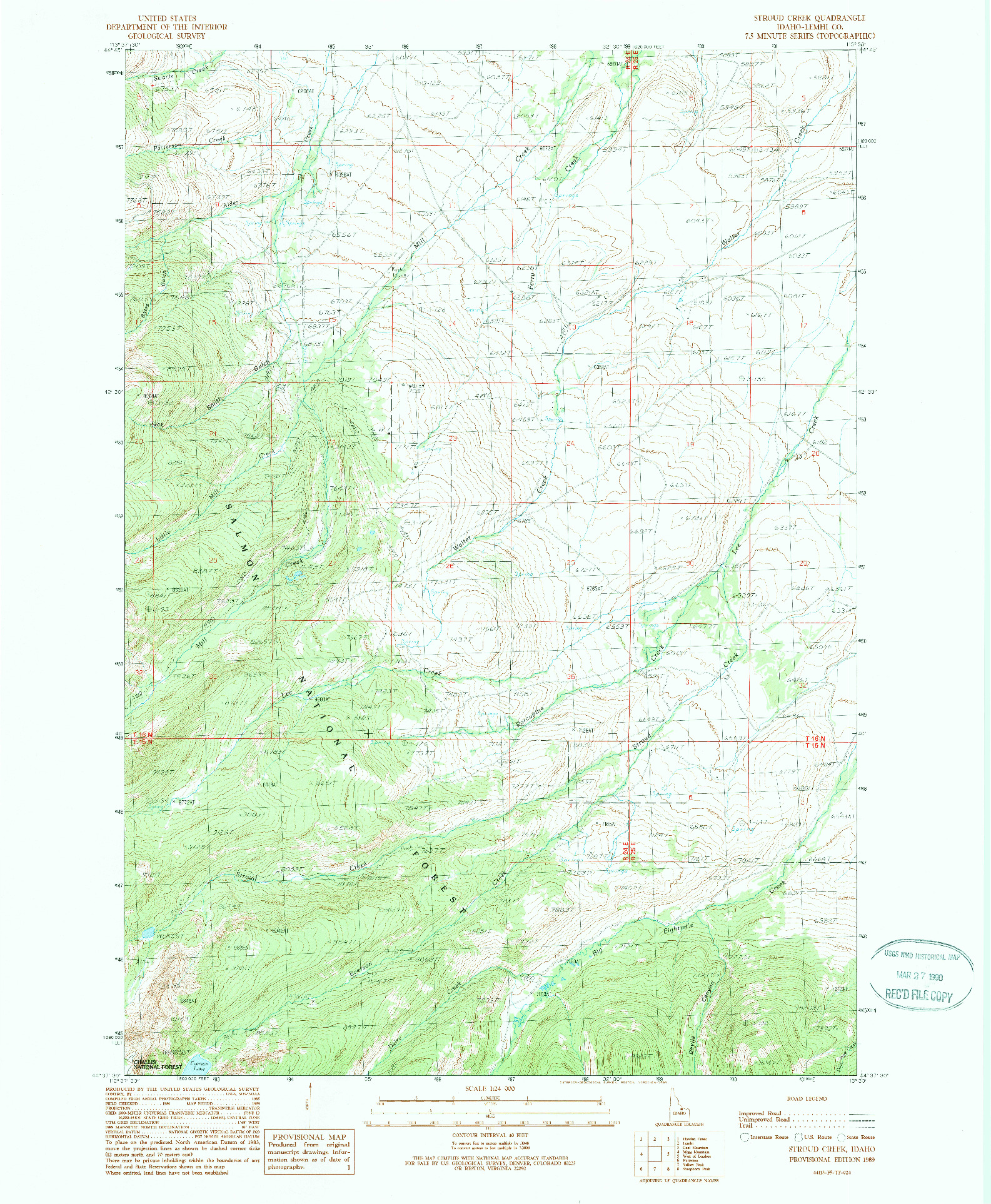 USGS 1:24000-SCALE QUADRANGLE FOR STROUD CREEK, ID 1989
