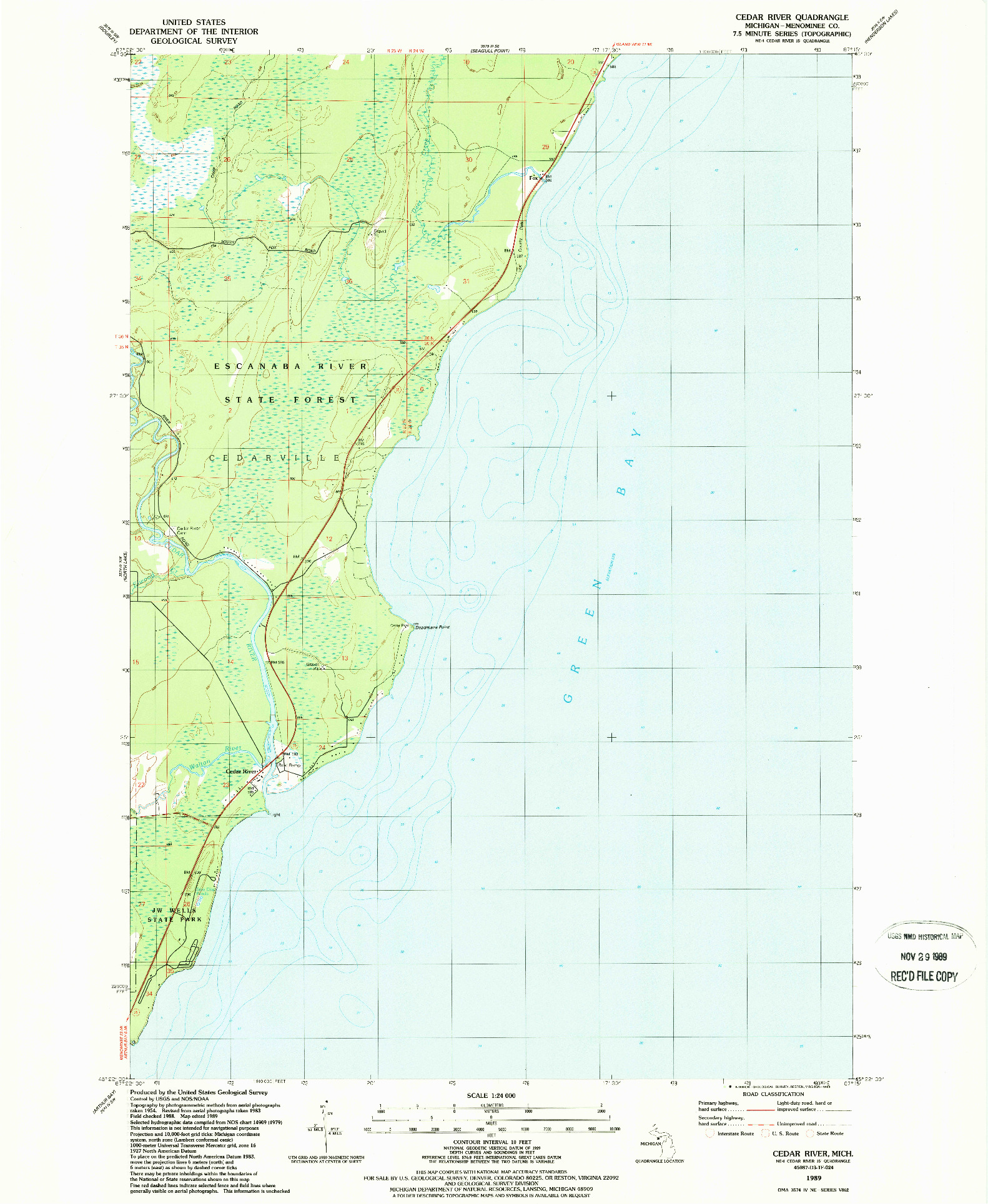USGS 1:24000-SCALE QUADRANGLE FOR CEDAR RIVER, MI 1989